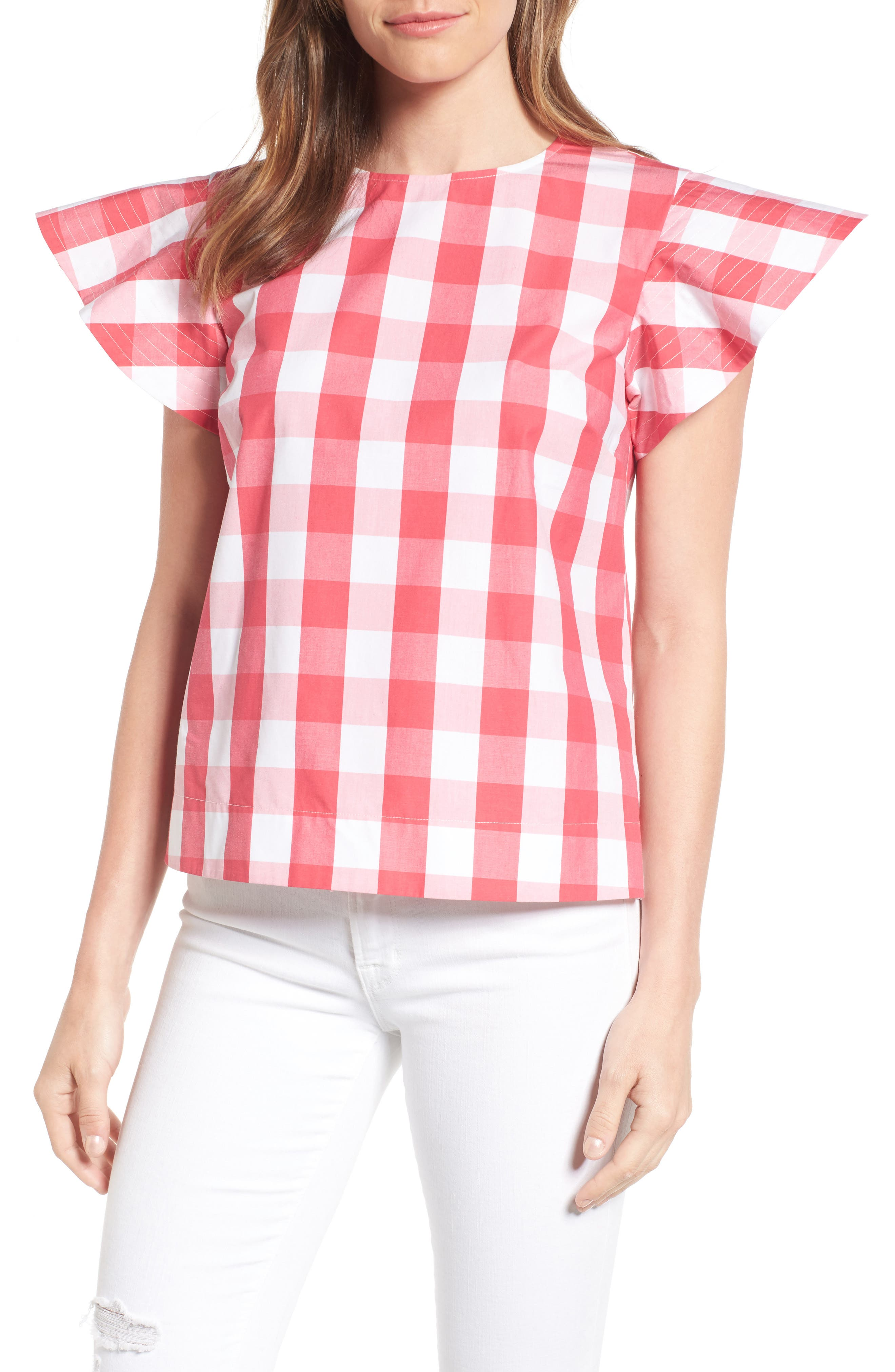 Cloister Gingham Cotton Top,                             Main thumbnail 2, color,