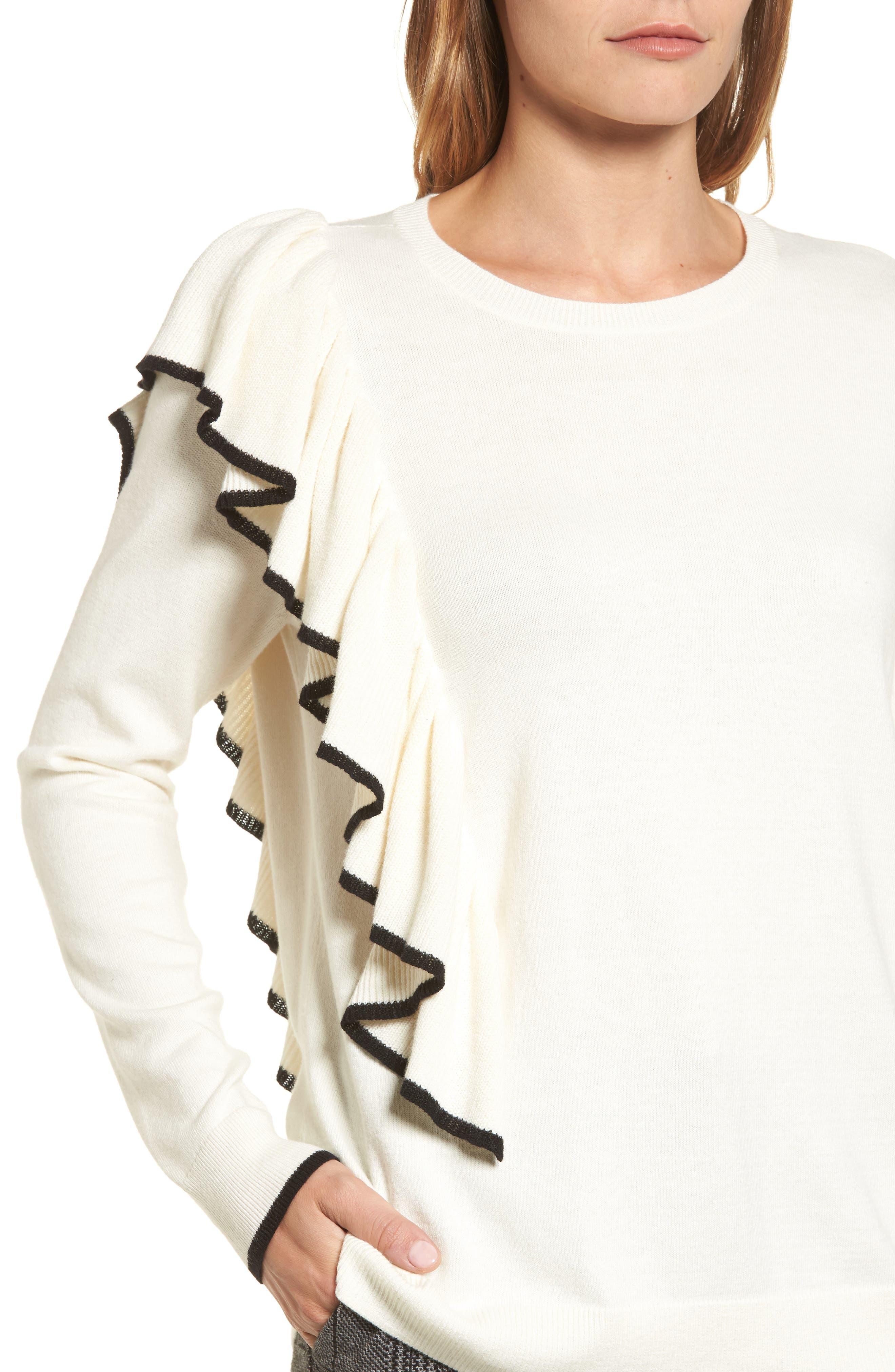Asymmetrical Ruffle Sweater,                             Alternate thumbnail 12, color,