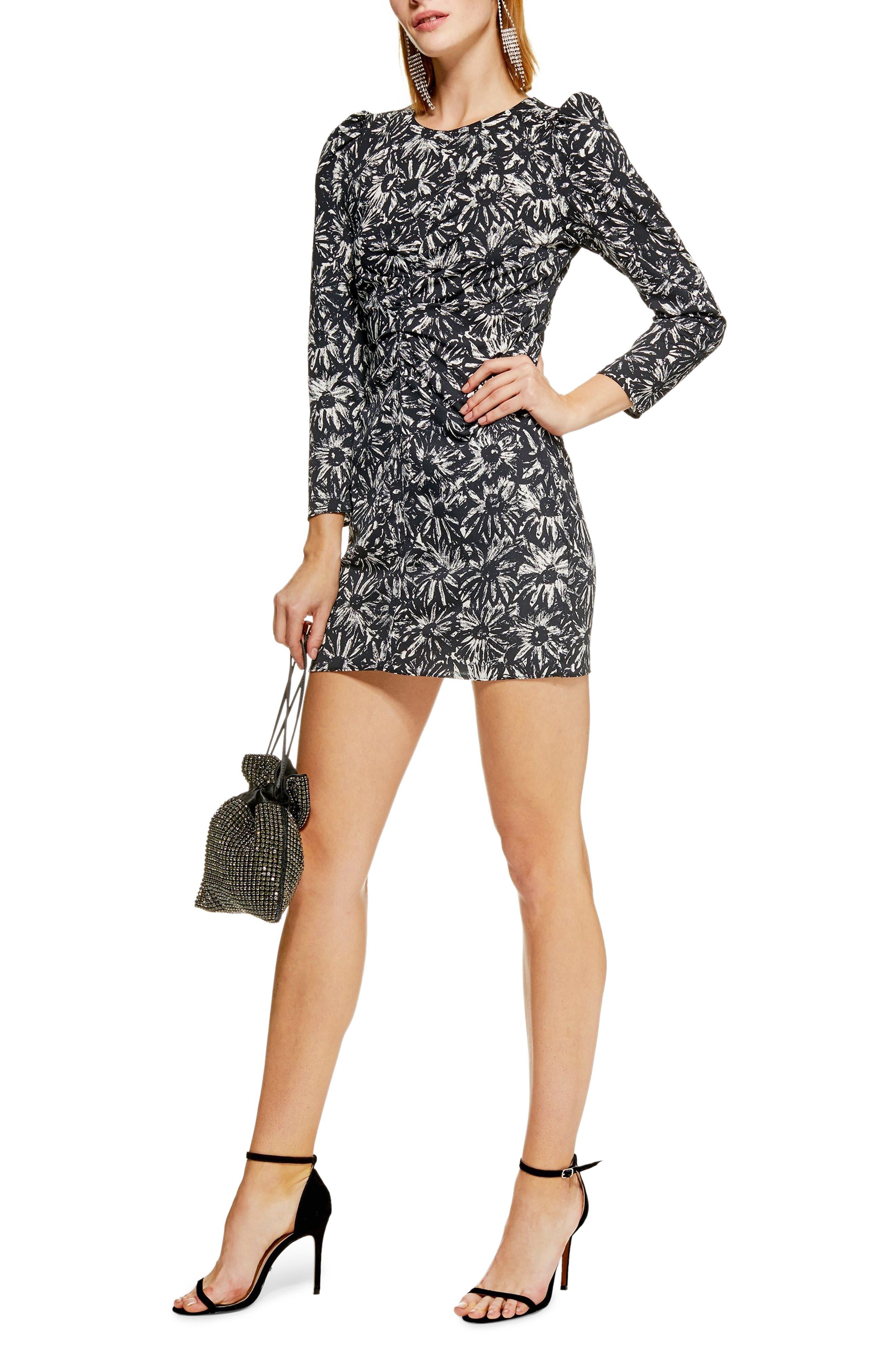 Daisy Ruched Minidress,                             Main thumbnail 1, color,                             BLACK MULTI