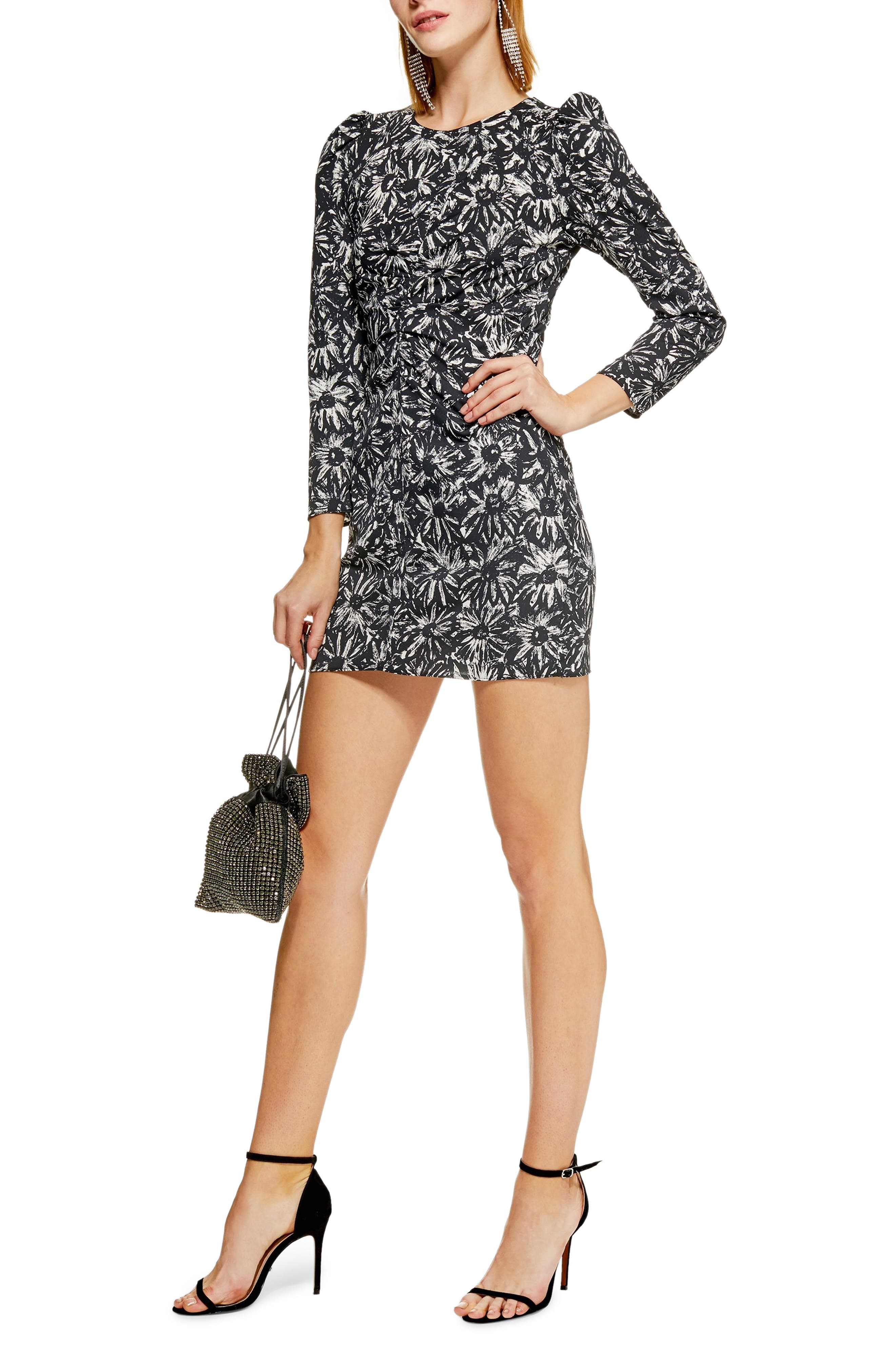 Daisy Ruched Minidress,                         Main,                         color, BLACK MULTI