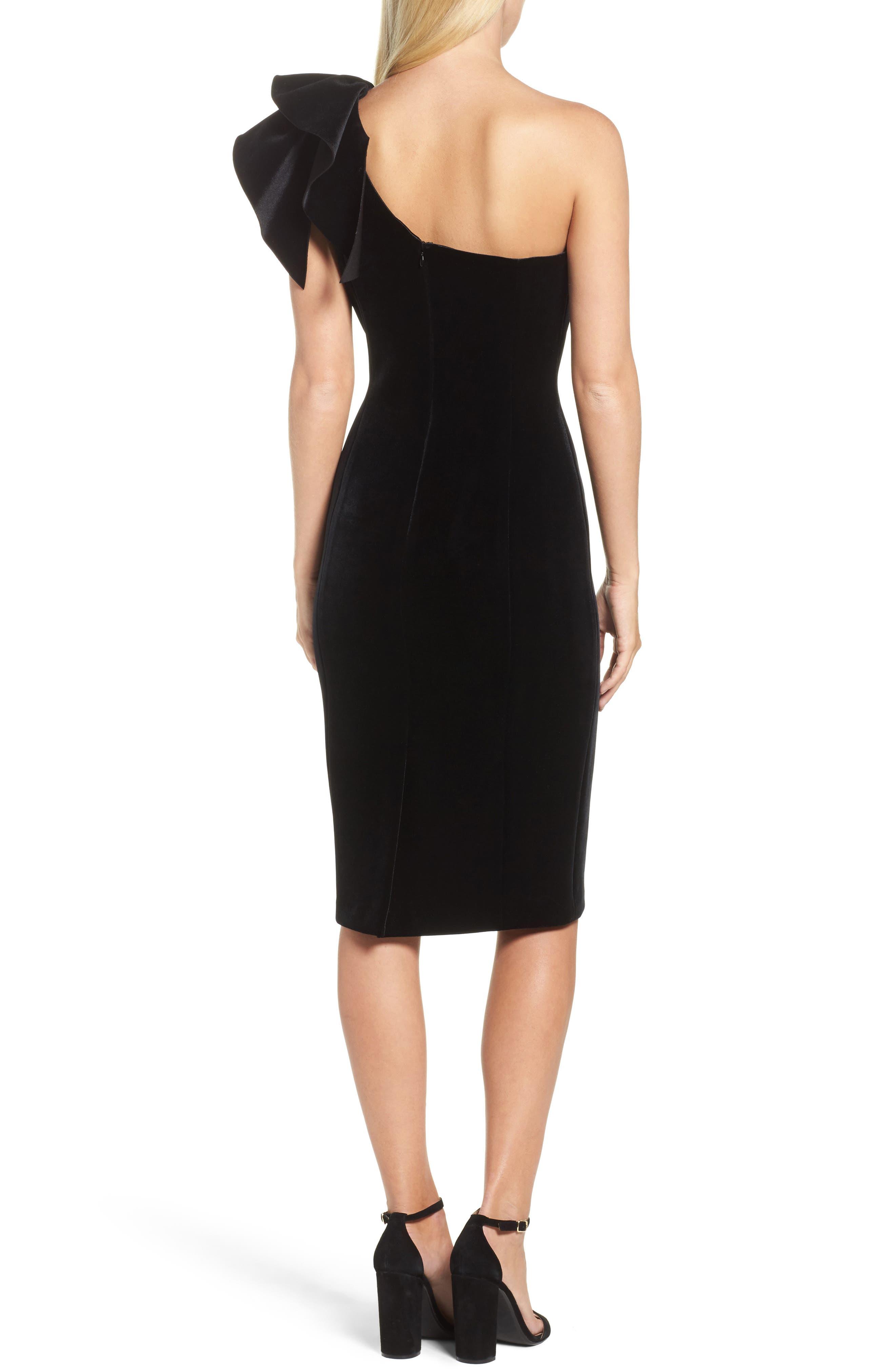 One-Shoulder Velvet Sheath Dress,                             Alternate thumbnail 2, color,                             BLACK