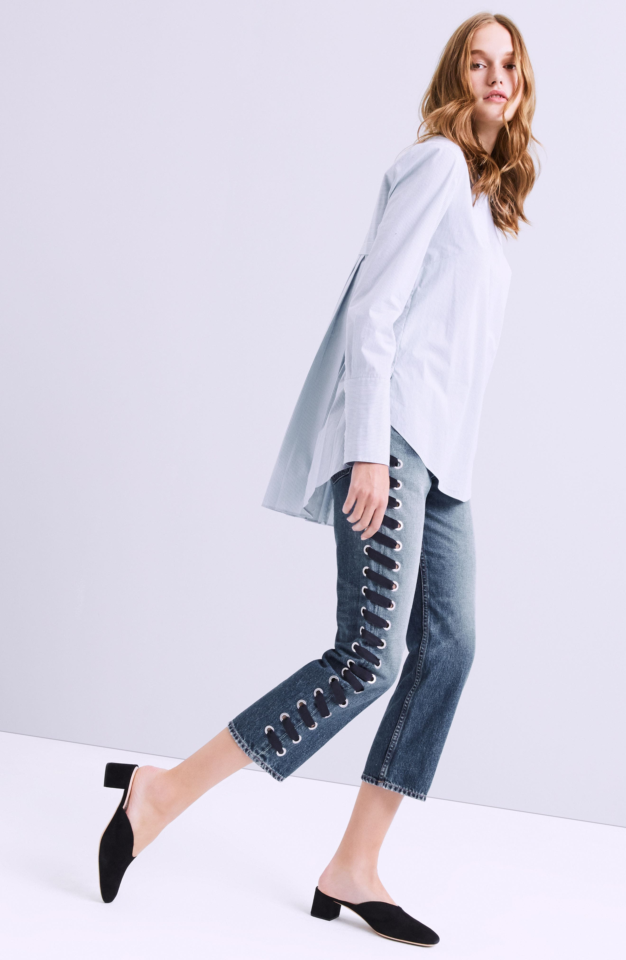 Ines Lace-Up Crop Girlfriend Jeans,                             Alternate thumbnail 7, color,                             400