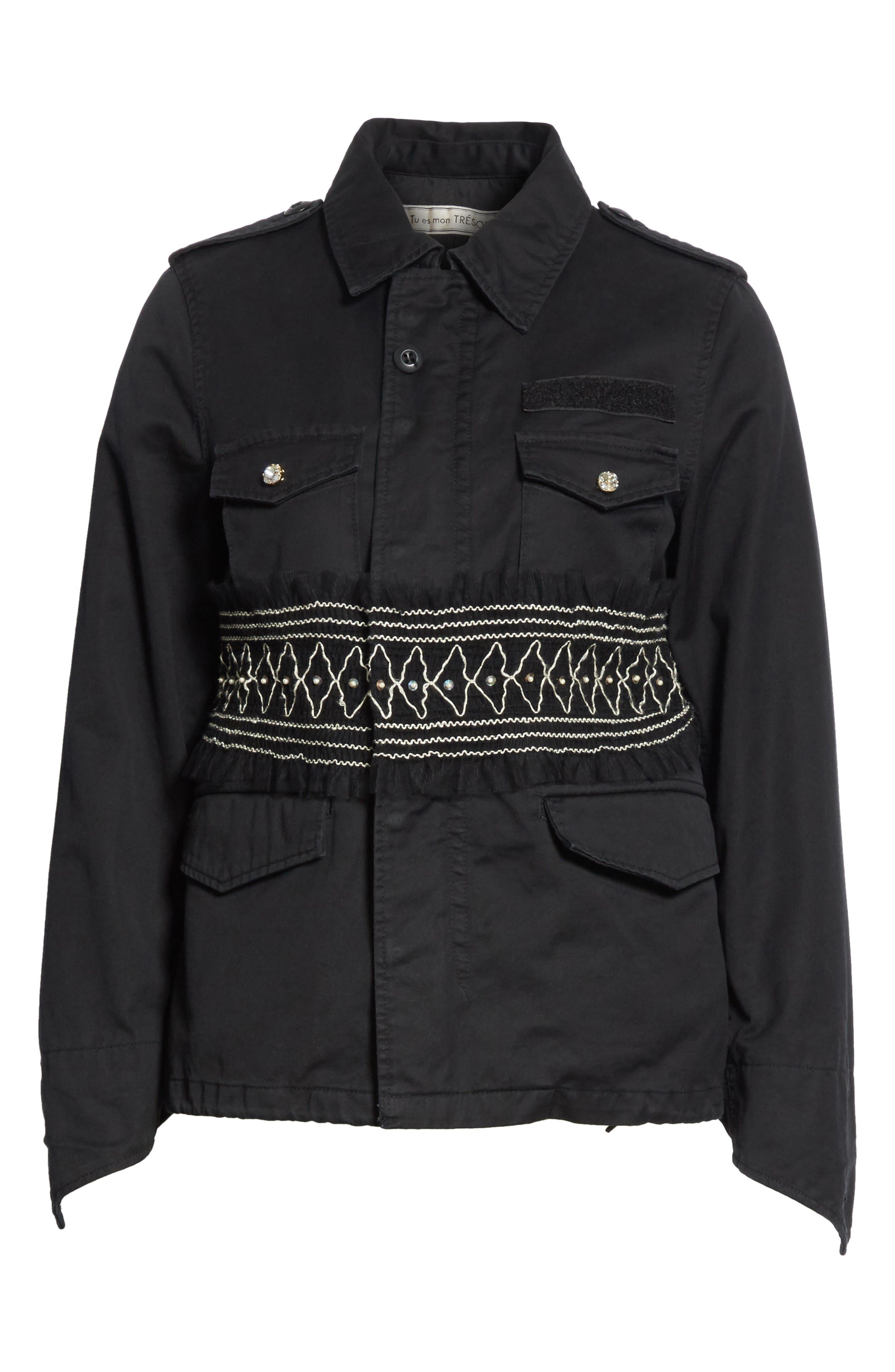 Smocked Embellished Belted Field Jacket,                             Alternate thumbnail 5, color,                             001