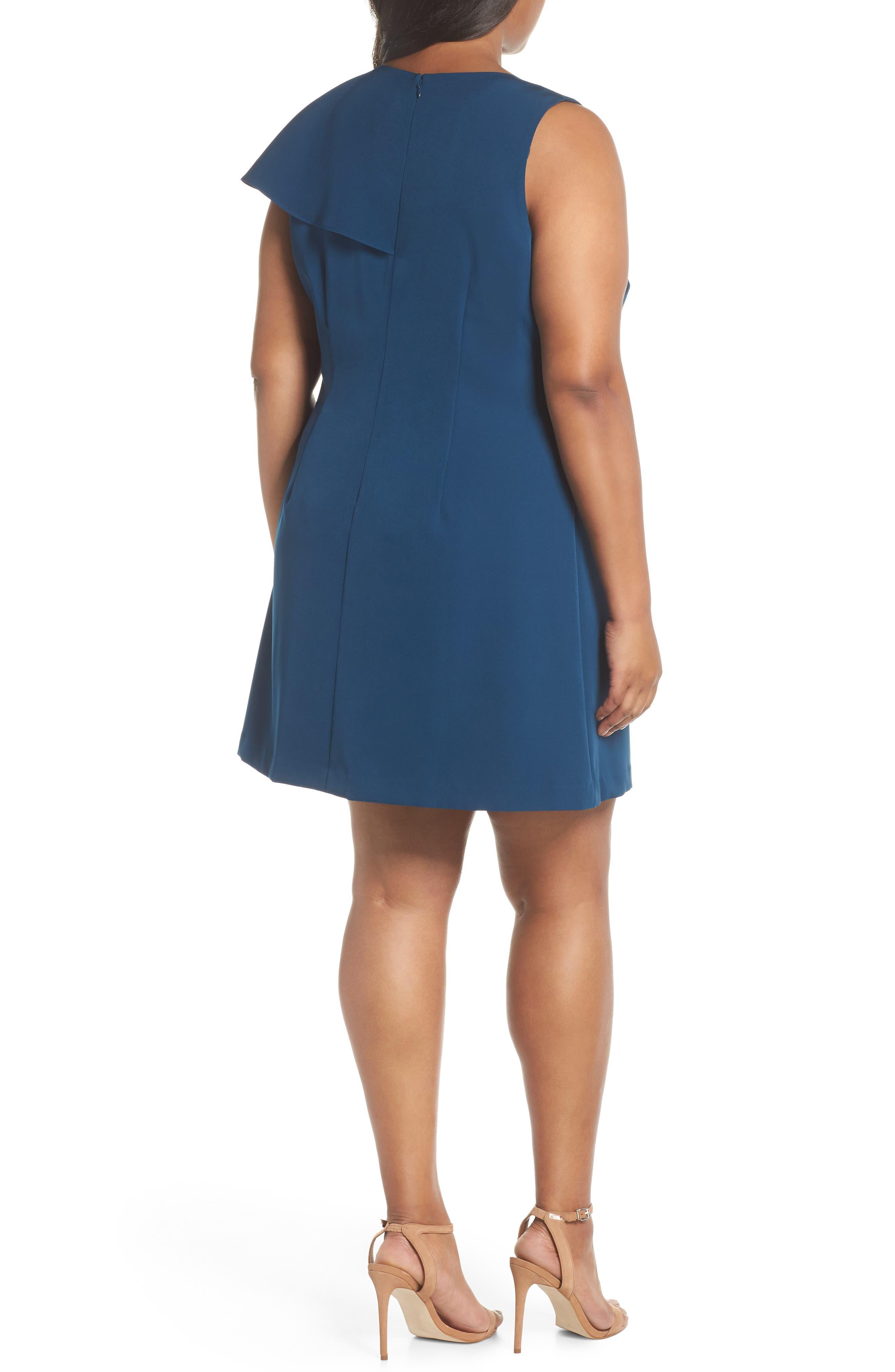 Ruffle Crepe A-Line Dress,                             Alternate thumbnail 2, color,                             400