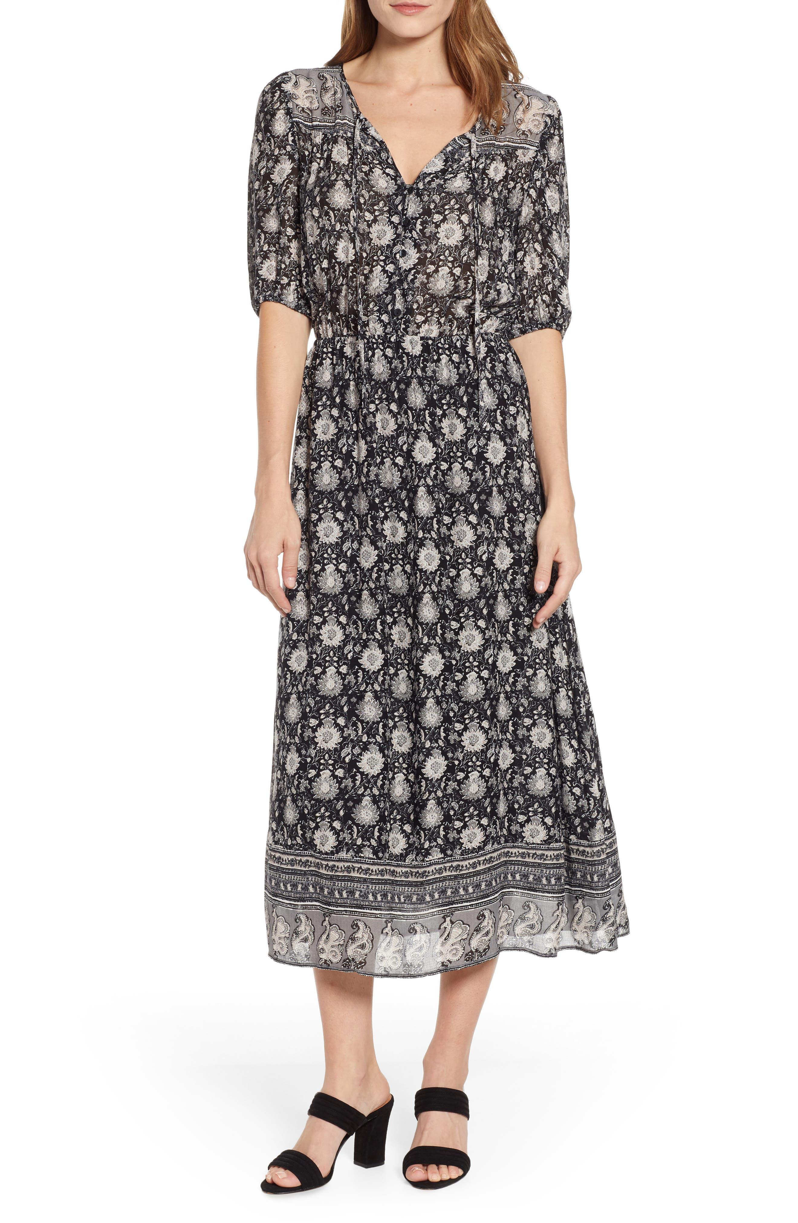 Lucky Brand Print Prairie Dress, Black