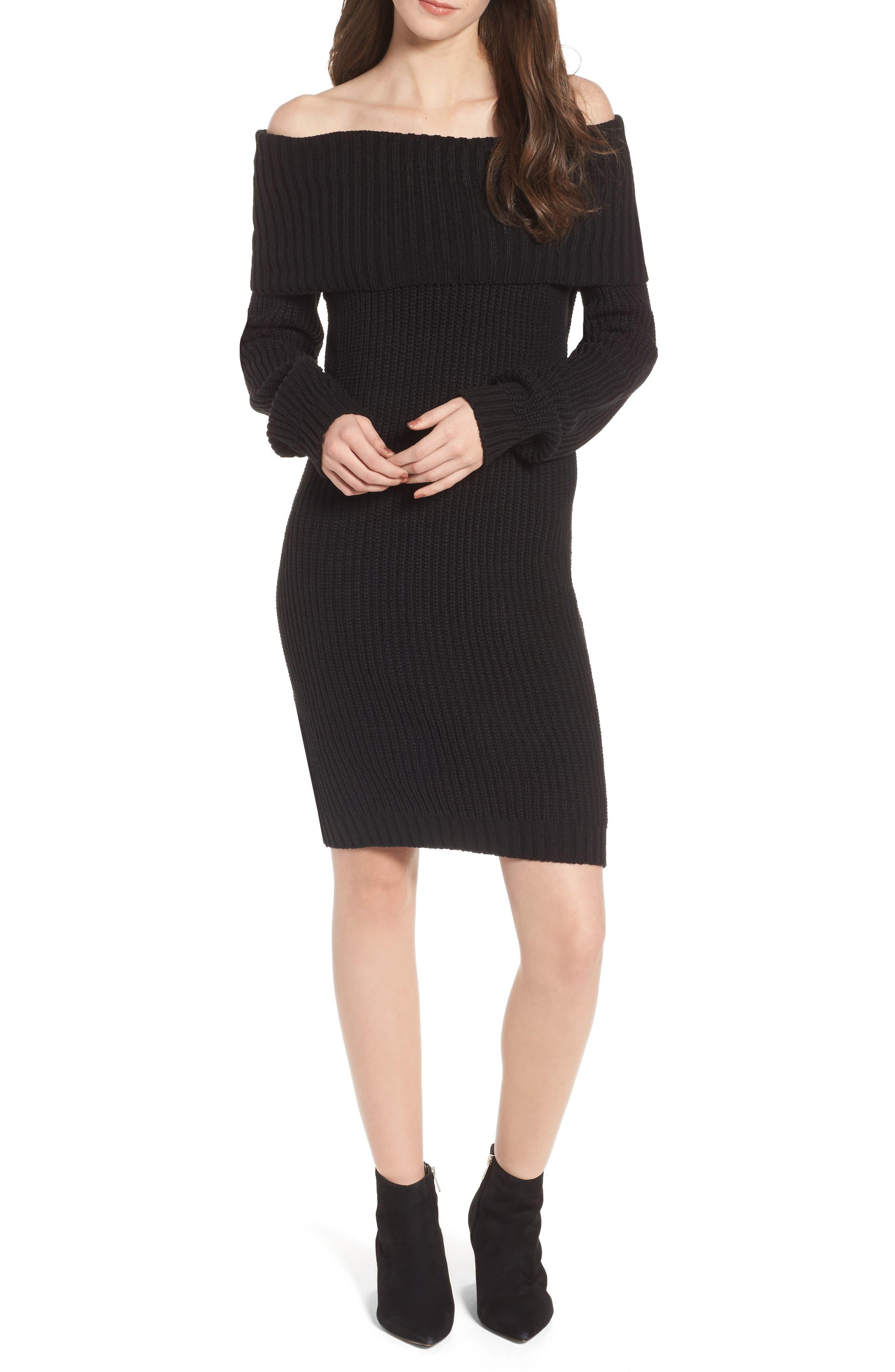 Foldover Off the Shoulder Sweater Dress,                         Main,                         color, 001