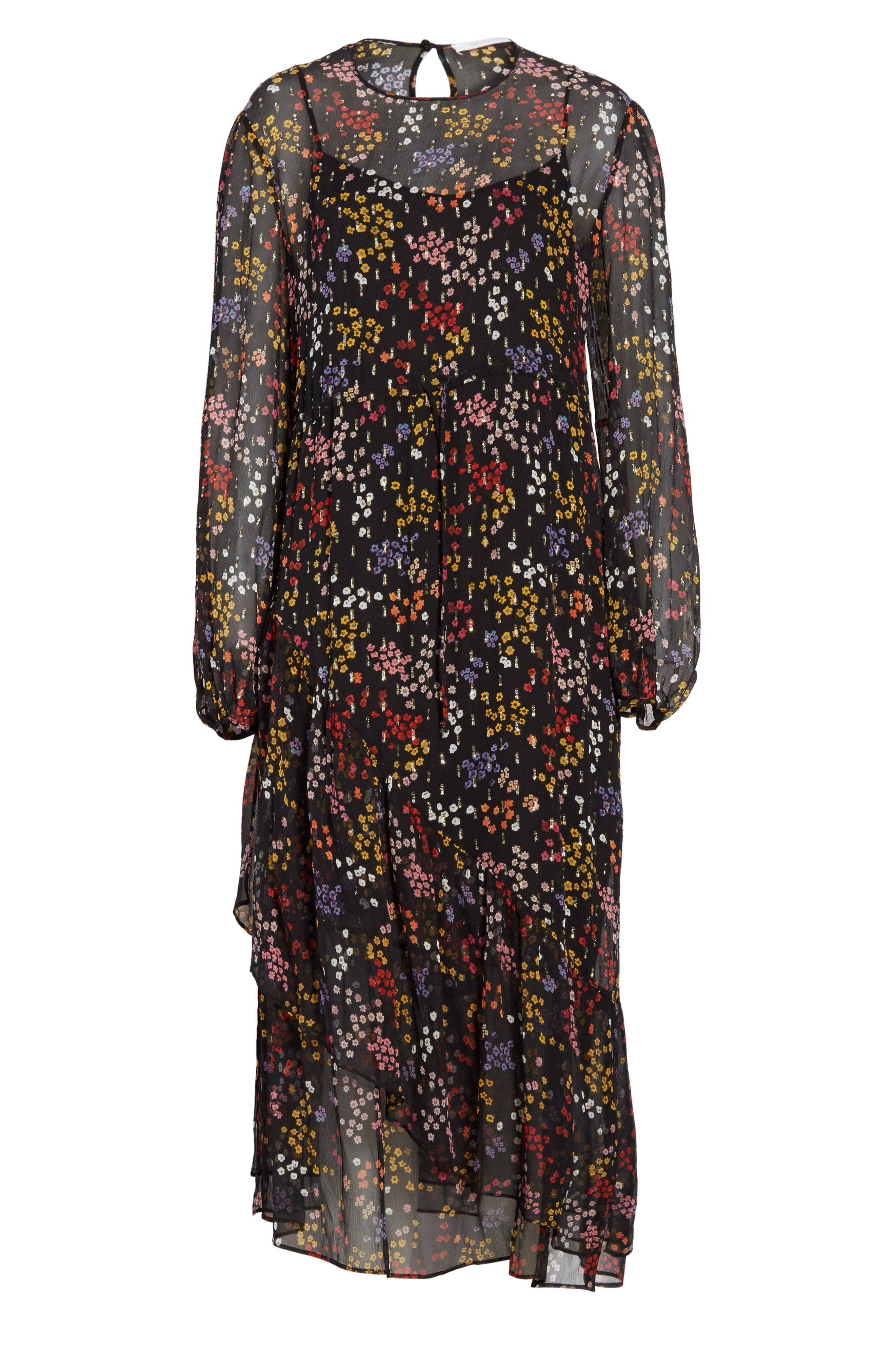 Floral Print Metallic Silk Midi Dress,                             Alternate thumbnail 6, color,                             001