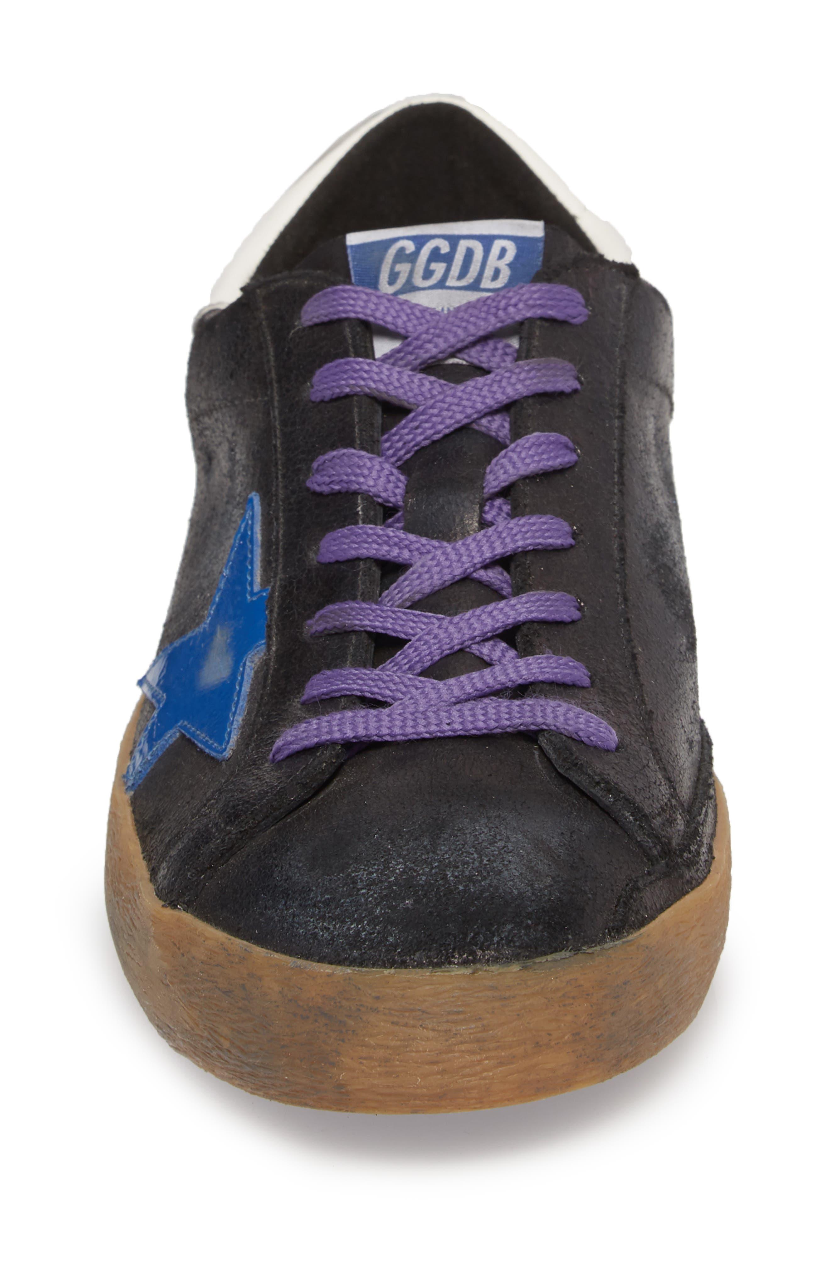 'Superstar' Sneaker,                             Alternate thumbnail 4, color,                             BLACK CRACK-BLUE STAR