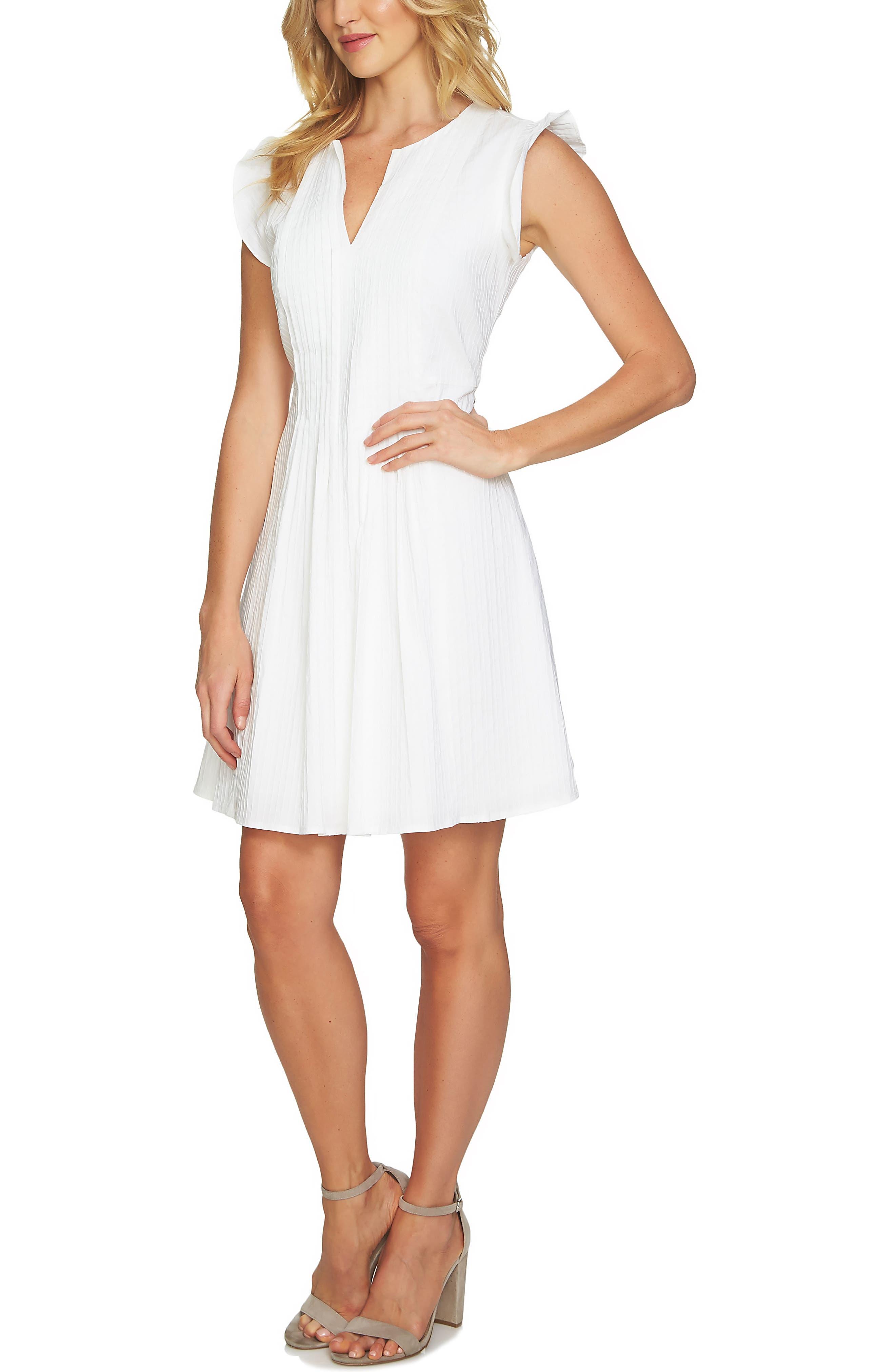 Flutter Sleeve Pintuck Dress,                             Main thumbnail 1, color,                             145