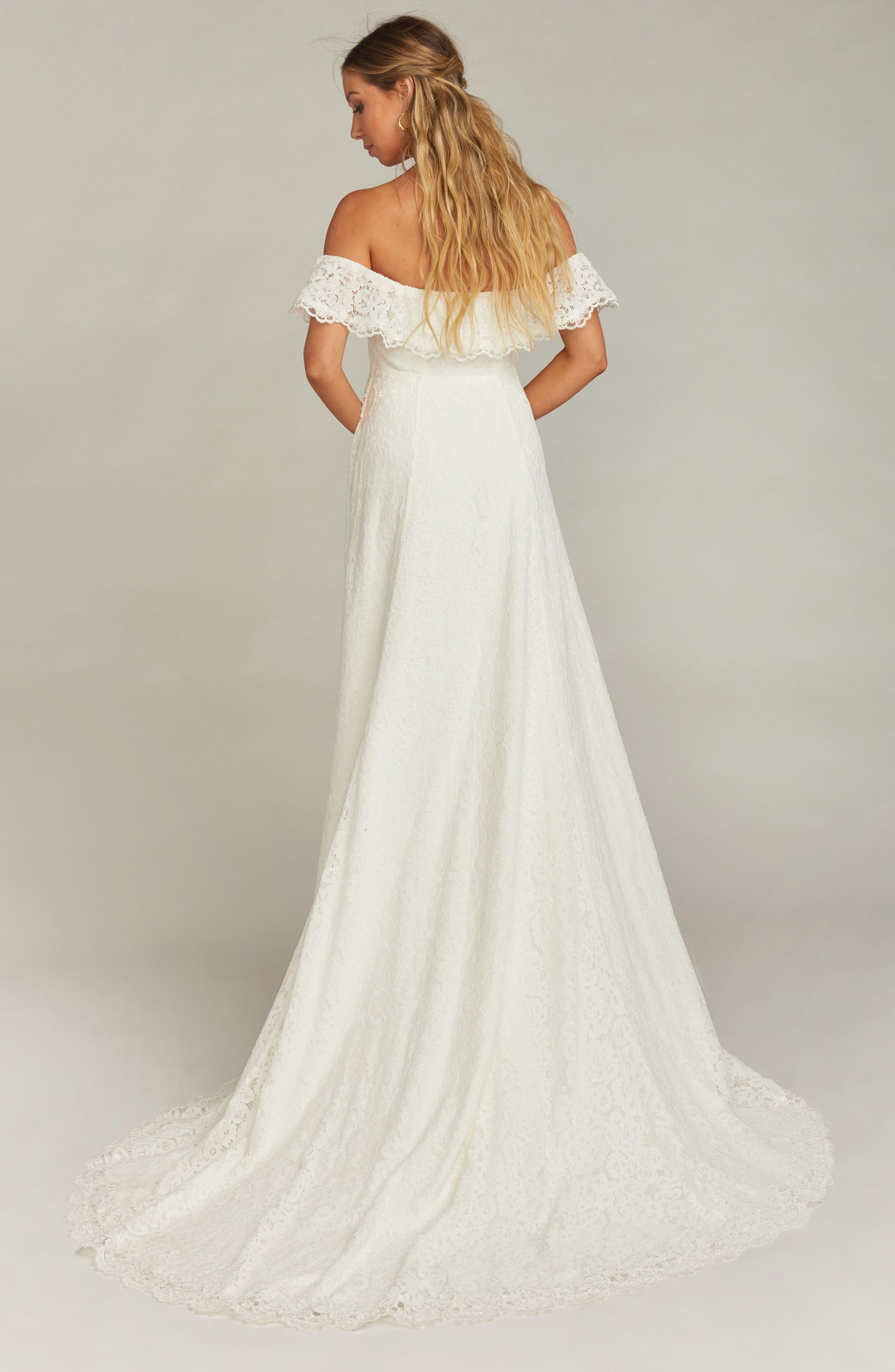 Karolina Off the Shoulder Lace Wedding Dress,                             Alternate thumbnail 2, color,                             WHITE