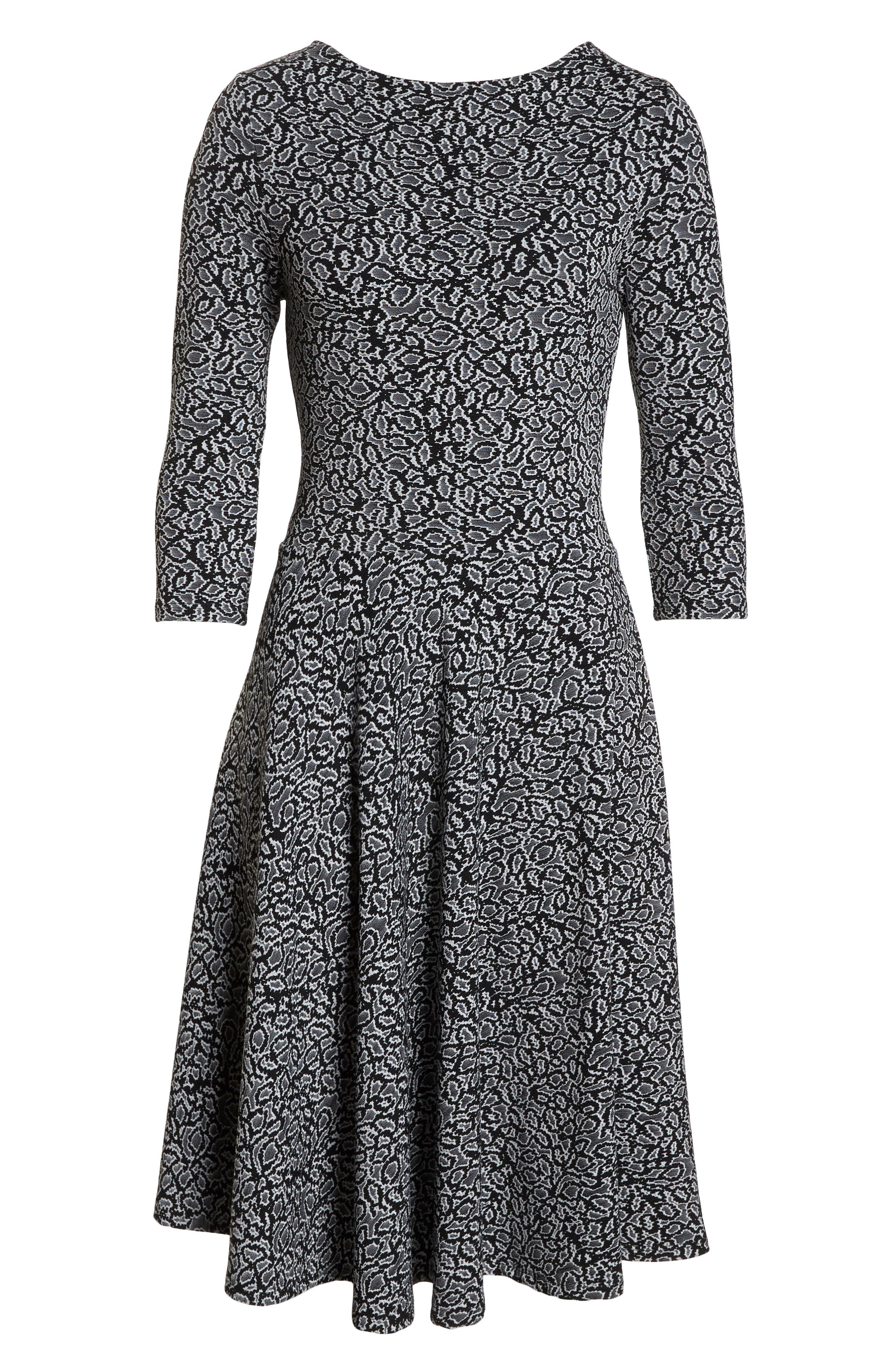 Circle Knit Fit & Flare Dress,                             Alternate thumbnail 7, color,                             013