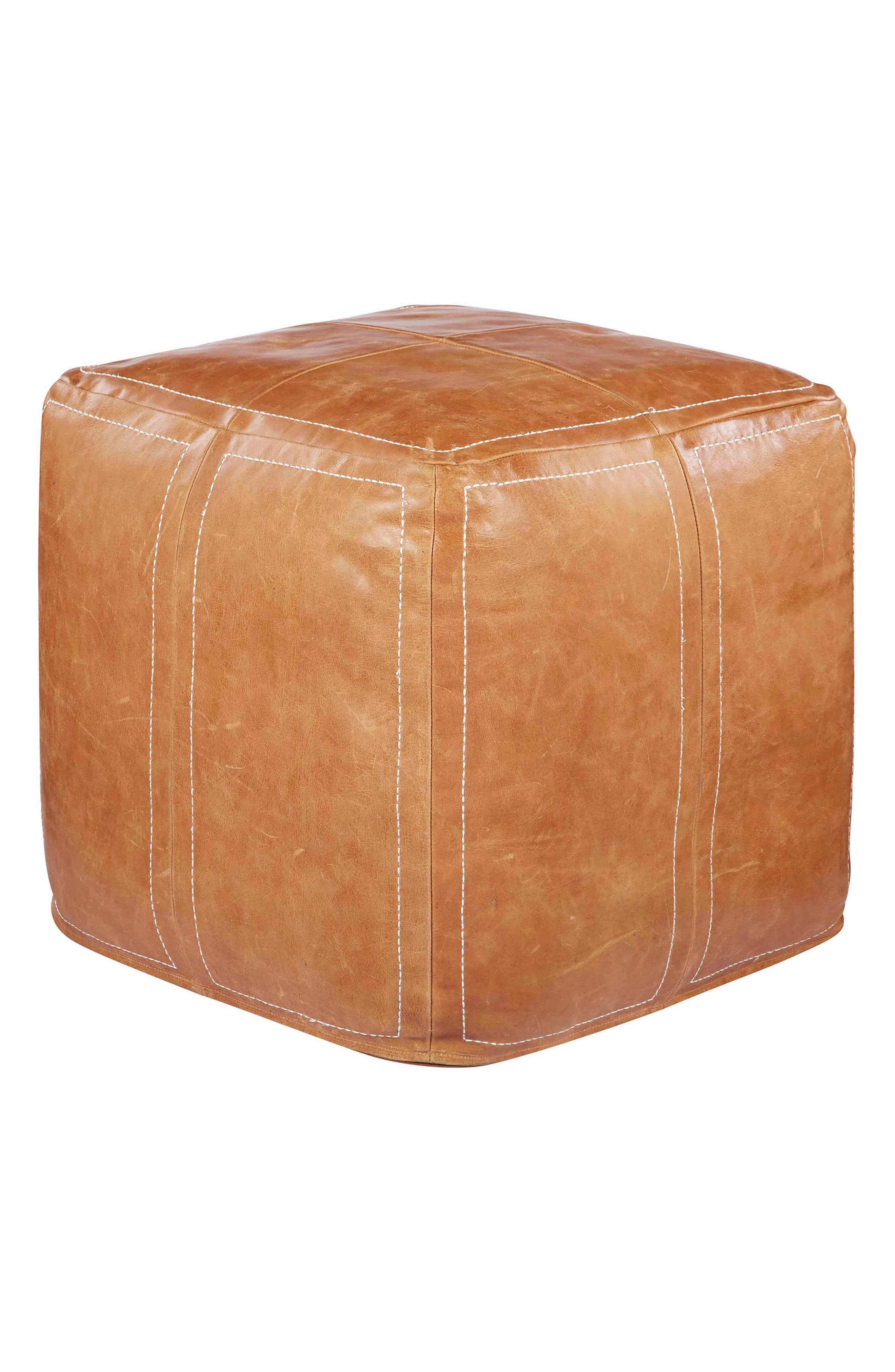 Leather Accent Pouf,                         Main,                         color, CAMEL/ CAMEL