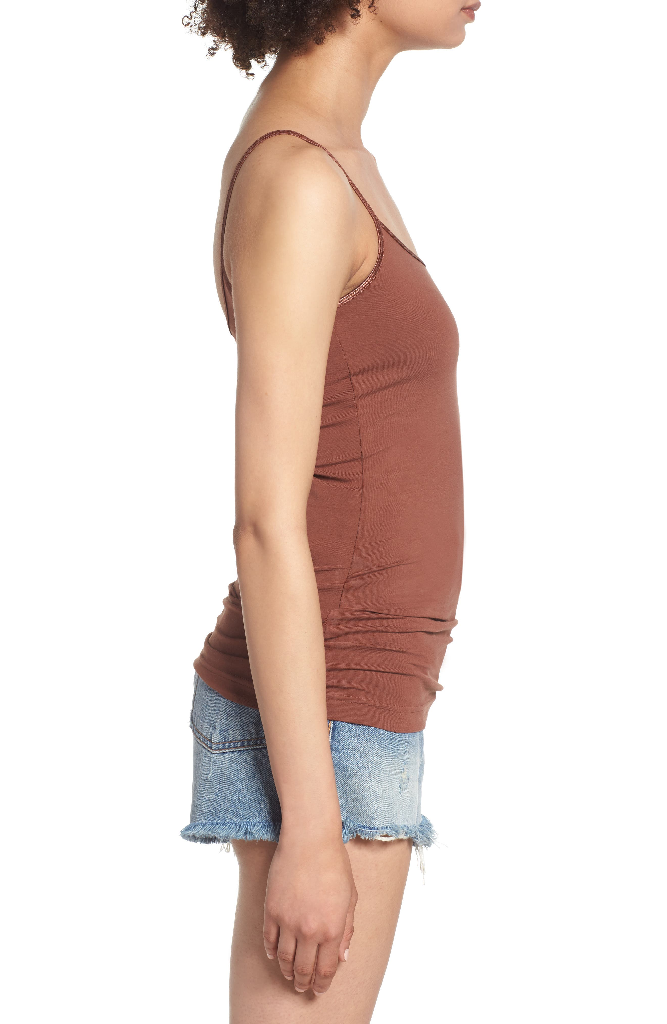 BP., Stretch Camisole, Alternate thumbnail 4, color, BROWN MINK