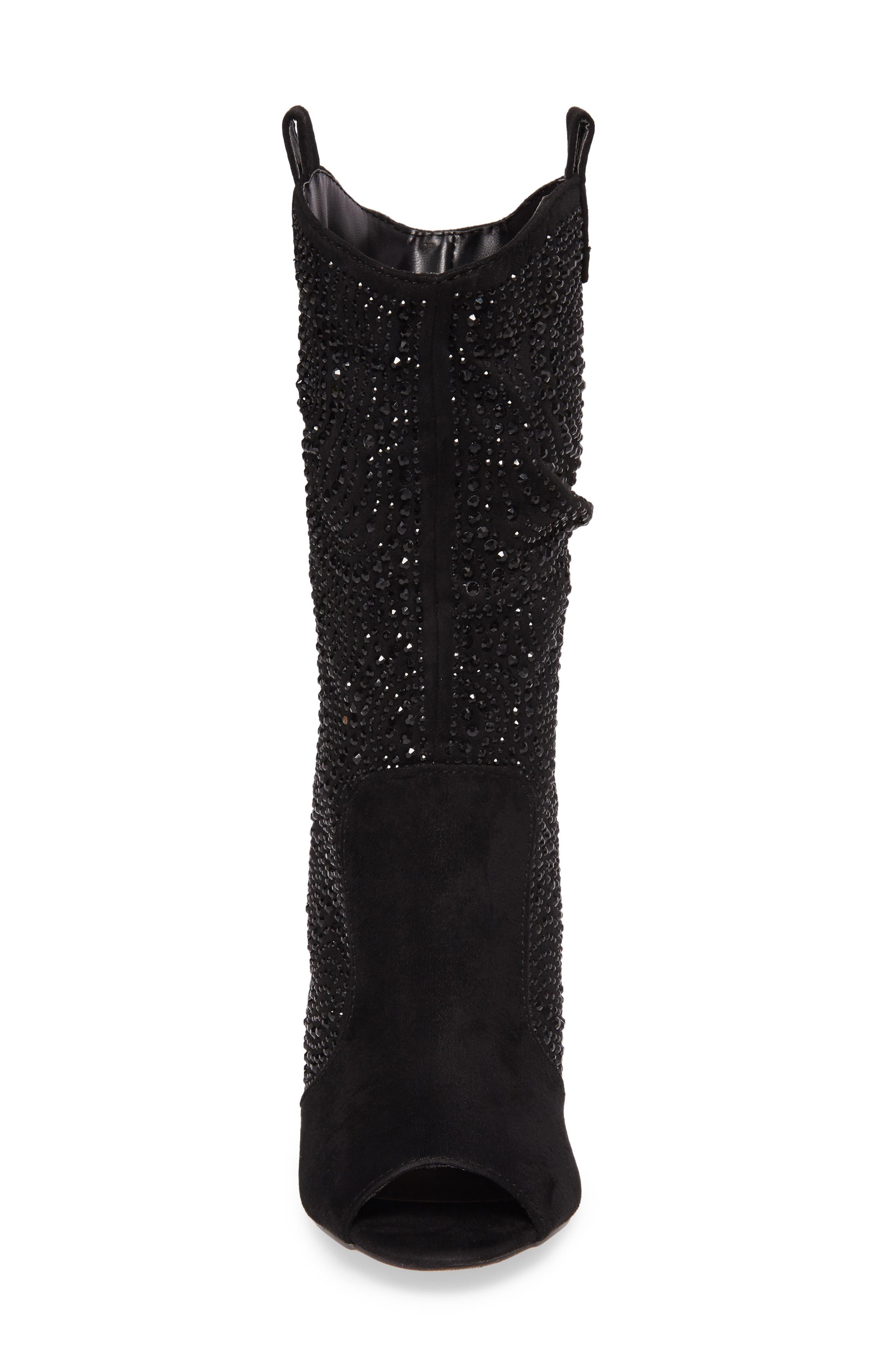 Layla Embellished Boot,                             Alternate thumbnail 4, color,                             BLACK