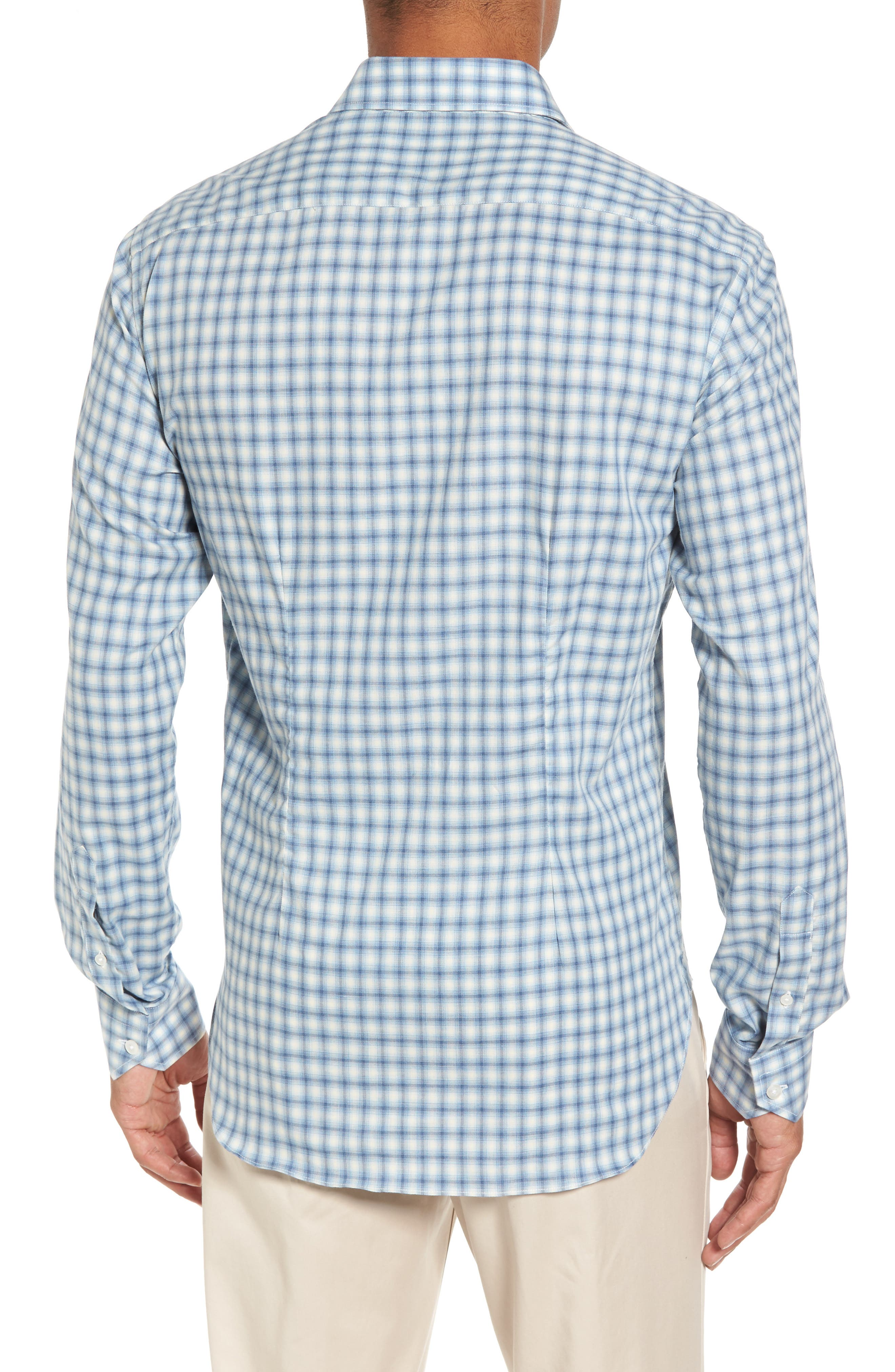 Slim Fit Plaid Twill Sport Shirt,                             Alternate thumbnail 2, color,