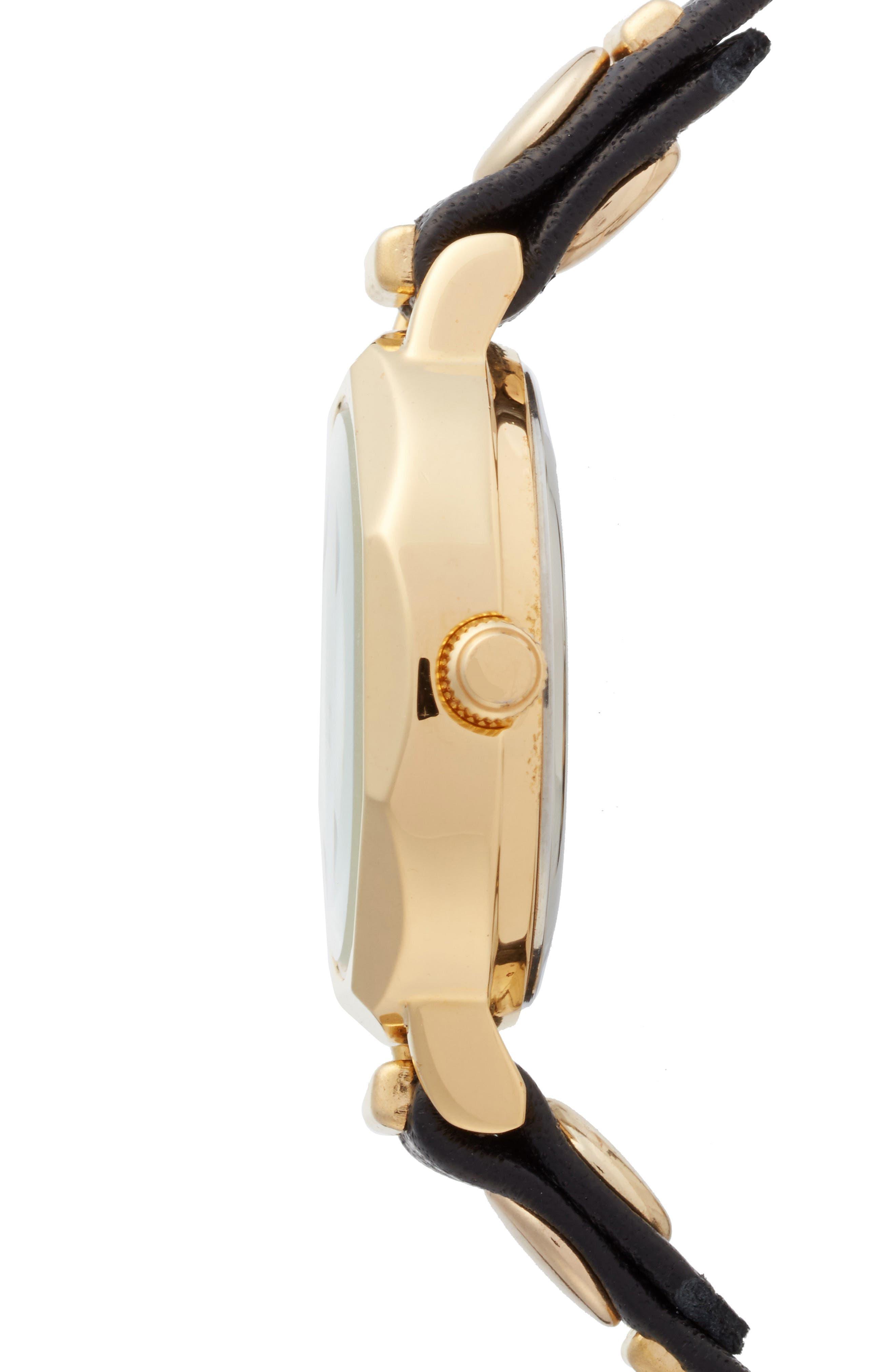 Baguette Stud Leather Wrap Strap Watch, 35mm,                             Alternate thumbnail 3, color,                             001