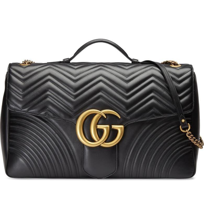 GUCCI Calfskin Matelasse Large GG Marmont Shoulder Bag