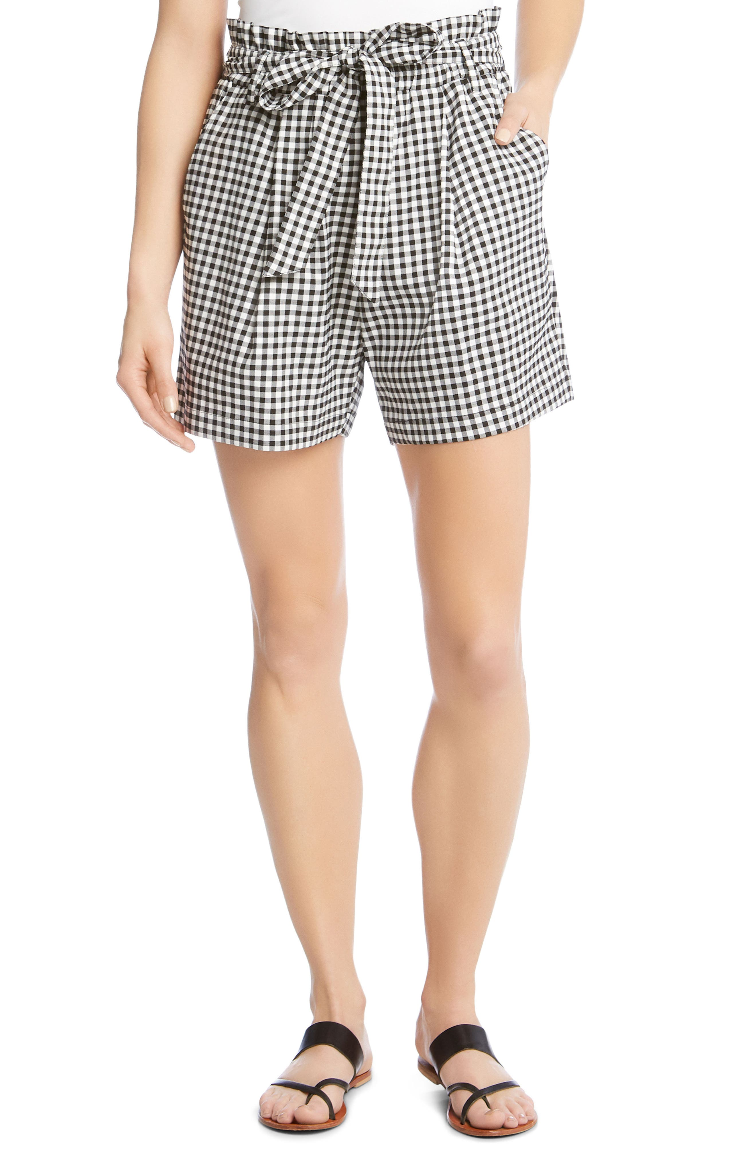 Paperbag Waist Gingham Shorts,                         Main,                         color, 010