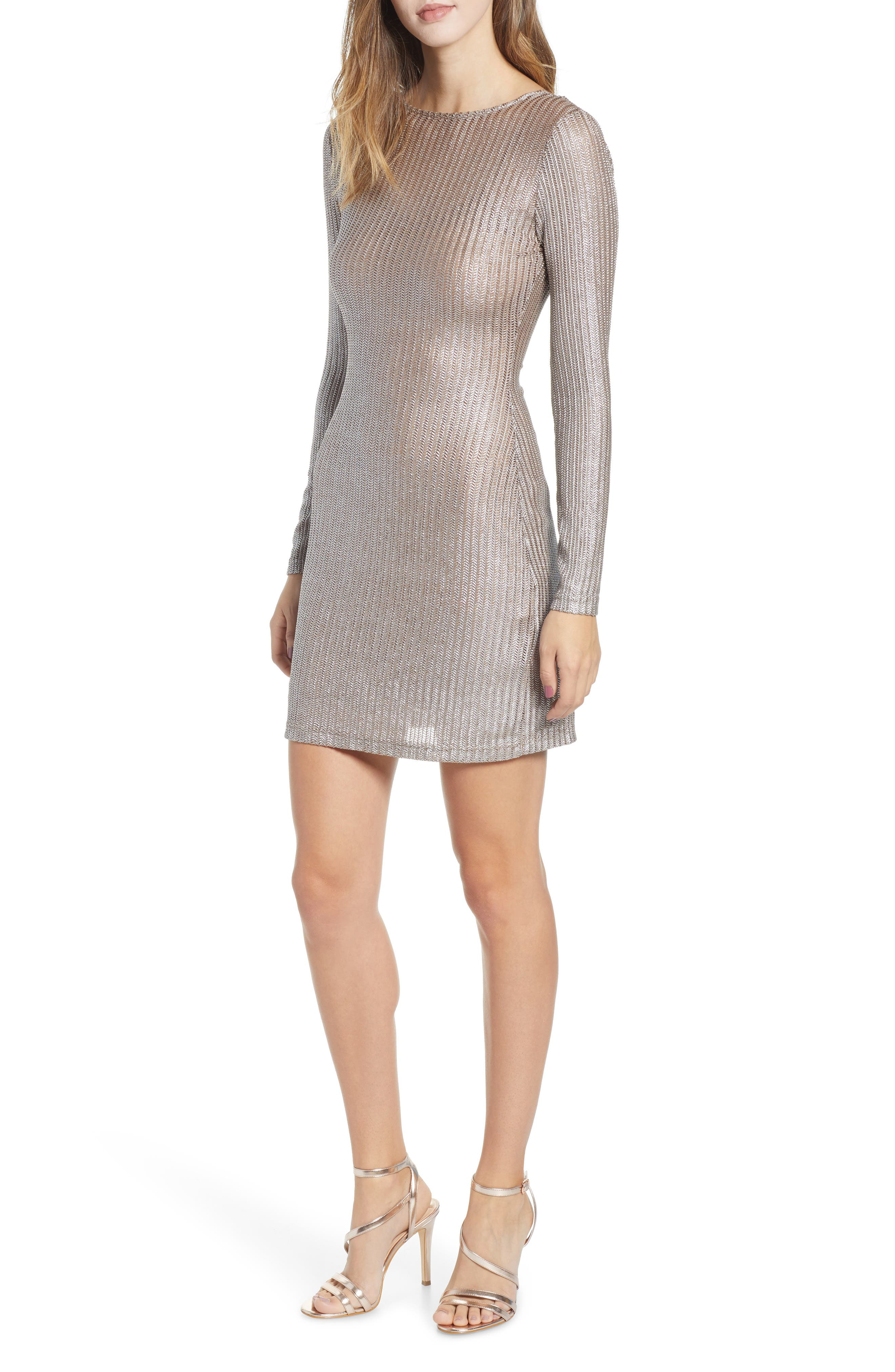 Wild Thoughts Metallic Dress,                             Main thumbnail 1, color,                             PEWTER