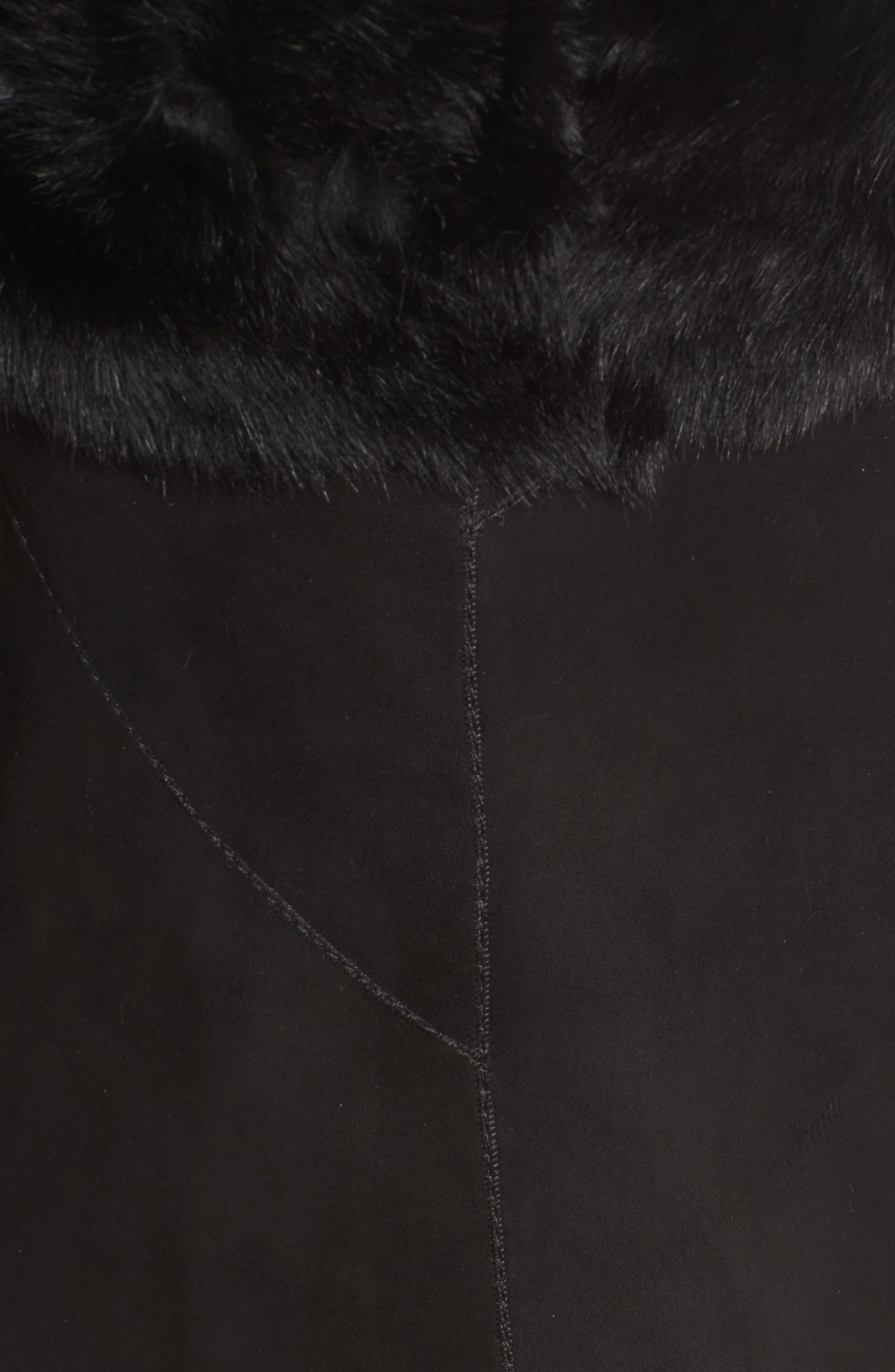 Asymmetrical Genuine Toscana Shearling Coat,                             Alternate thumbnail 6, color,                             001