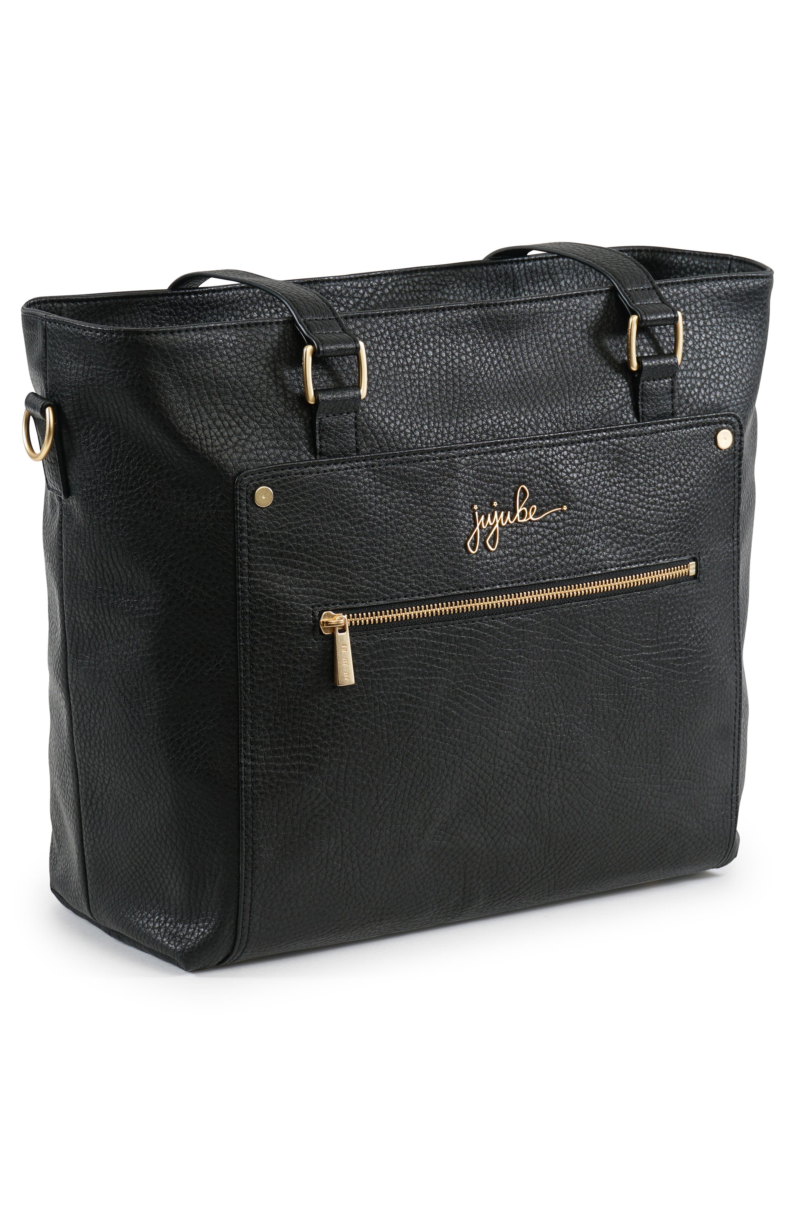 Ever Collection Everyday Faux Leather Diaper Tote,                             Alternate thumbnail 3, color,                             NOIR