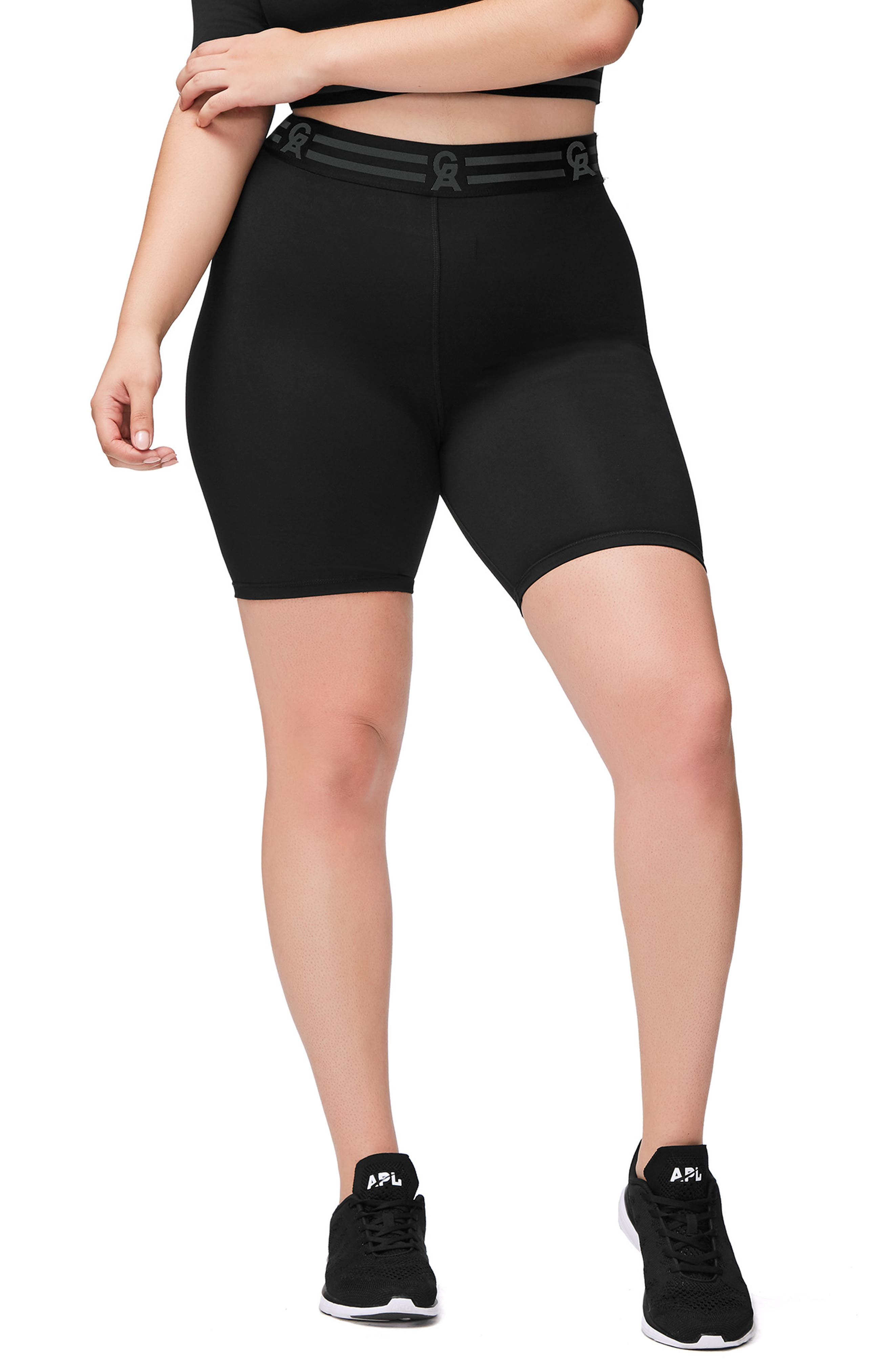 Icon High Waist Biker Shorts,                             Alternate thumbnail 2, color,                             BLACK001