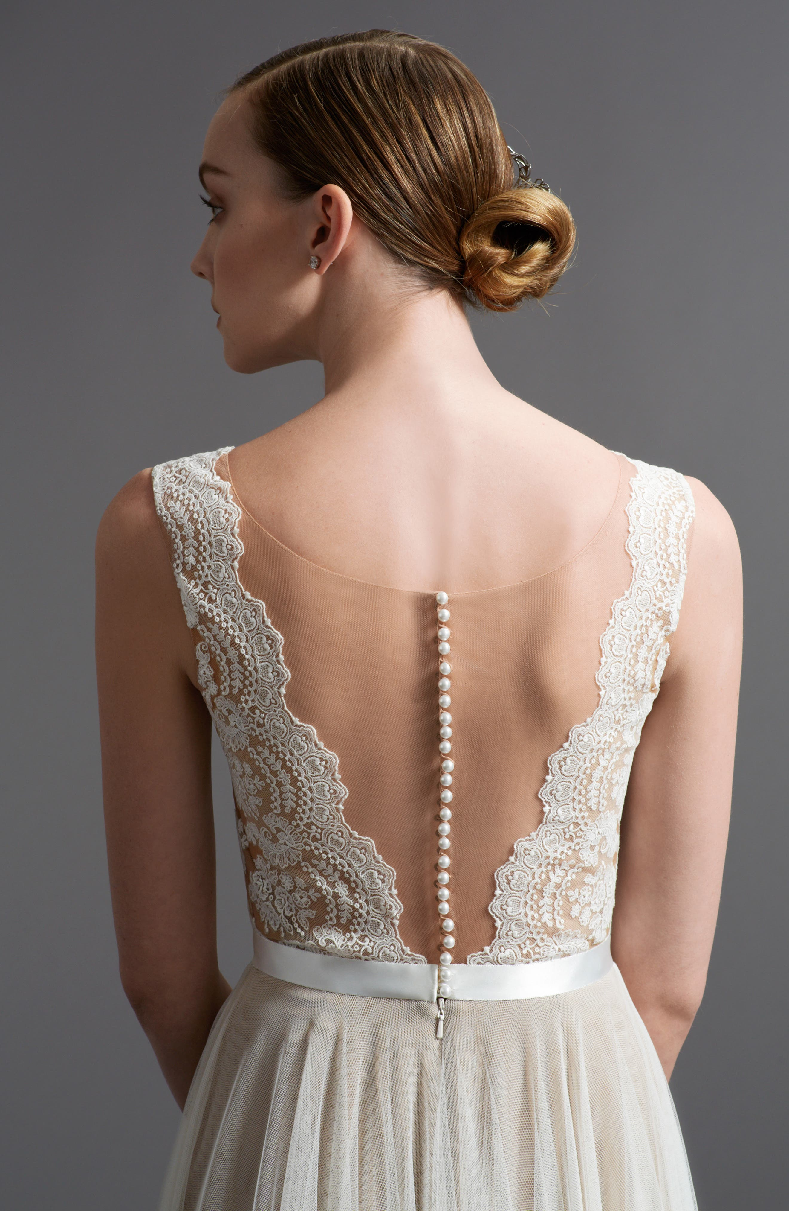 Santina Lace Bodice A-Line Gown,                             Alternate thumbnail 4, color,                             NUDE/IVORY/BRONZE/GARDENIA