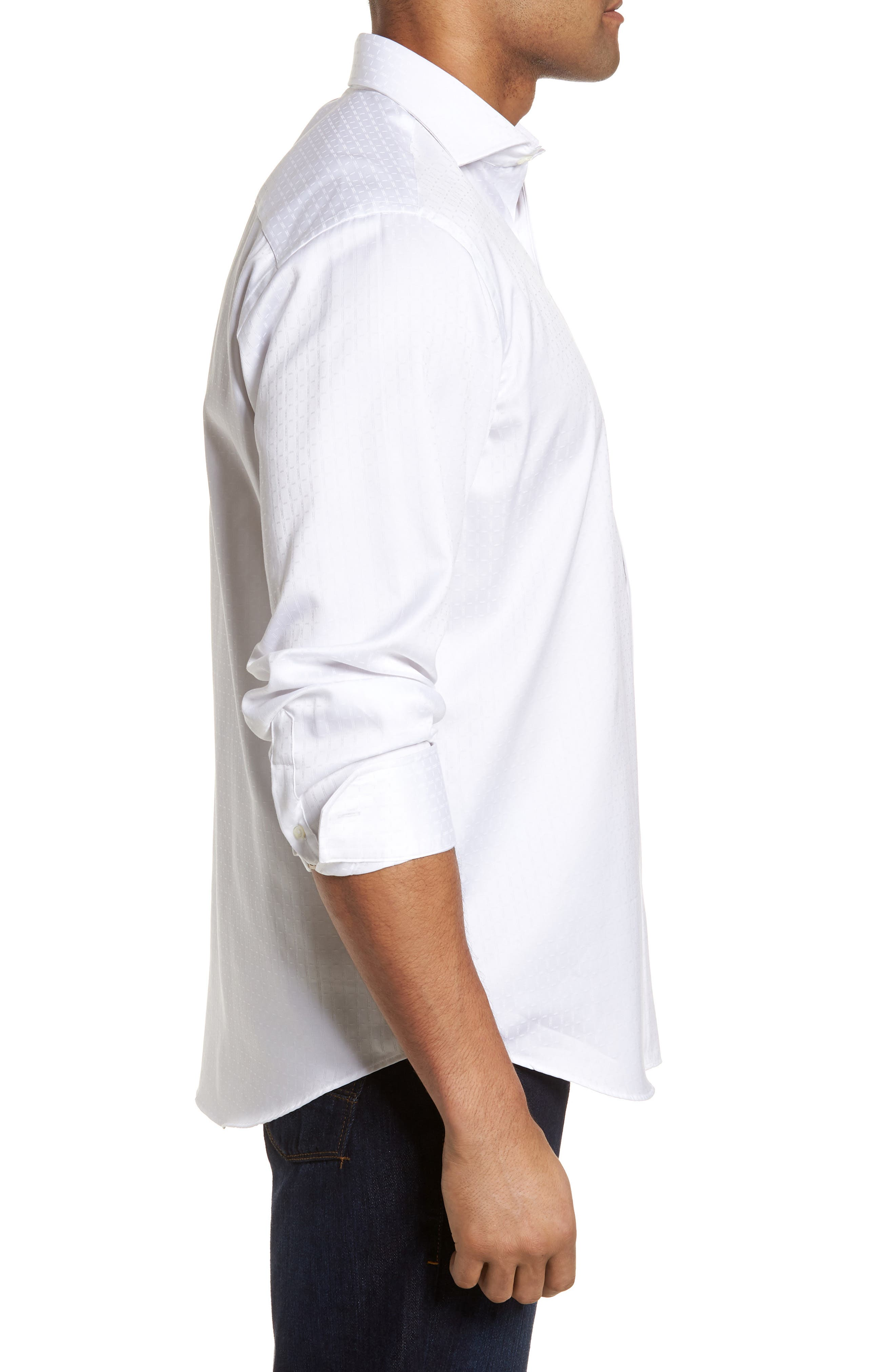 Classic Fit Woven Sport Shirt,                             Alternate thumbnail 3, color,                             WHITE