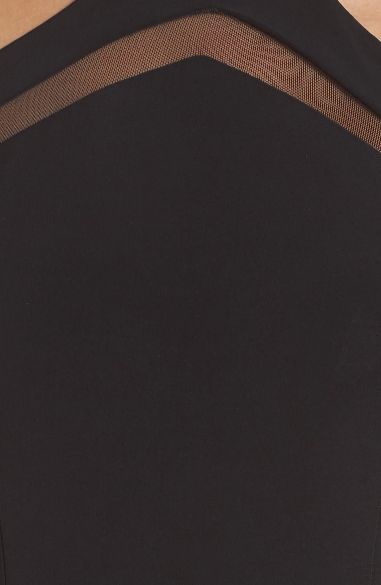 Mesh Inset Sheath Dress,                             Alternate thumbnail 6, color,                             BLACK