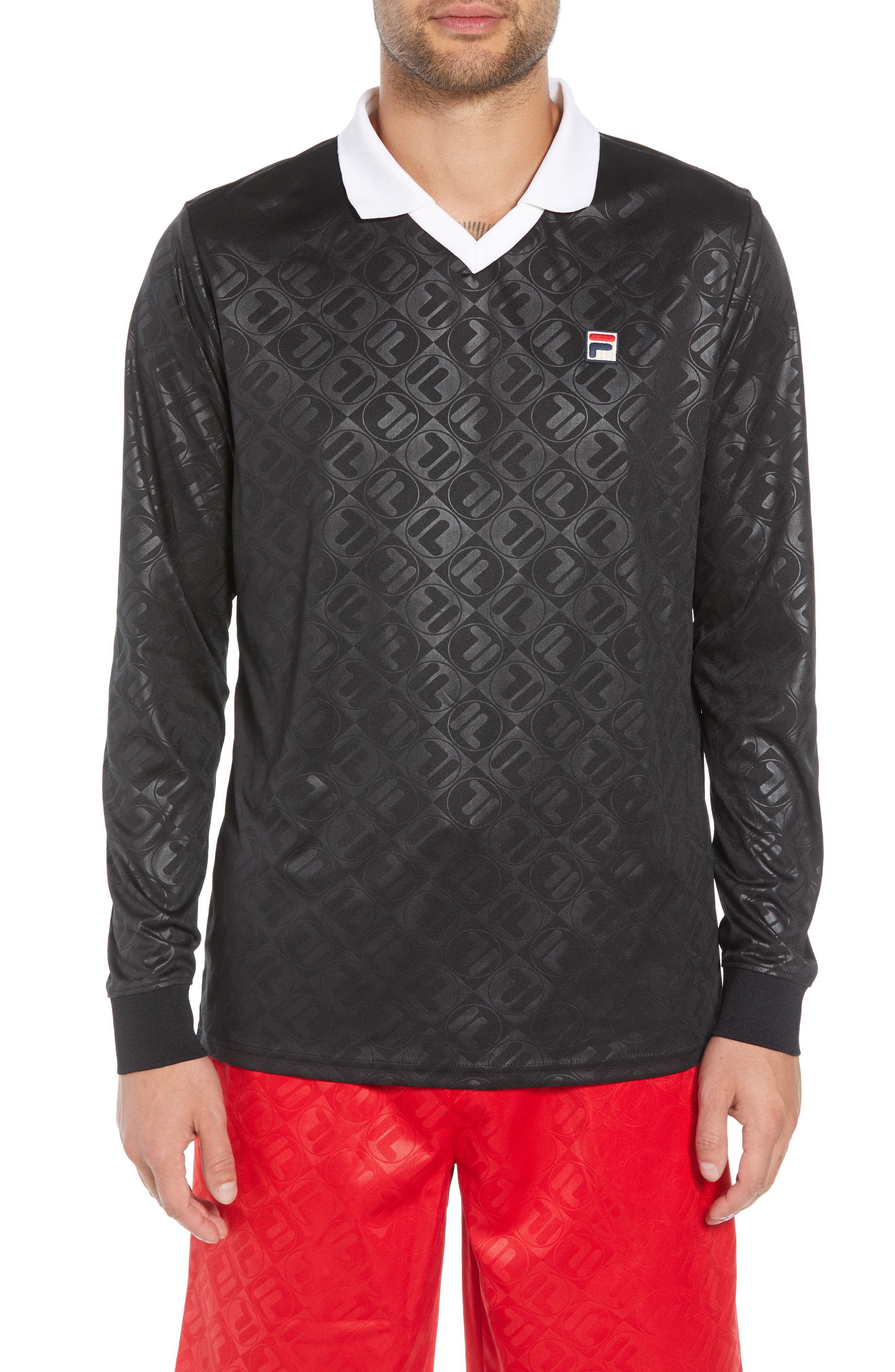 Carter Johnny Collar Long Sleeve Polo,                         Main,                         color, 001