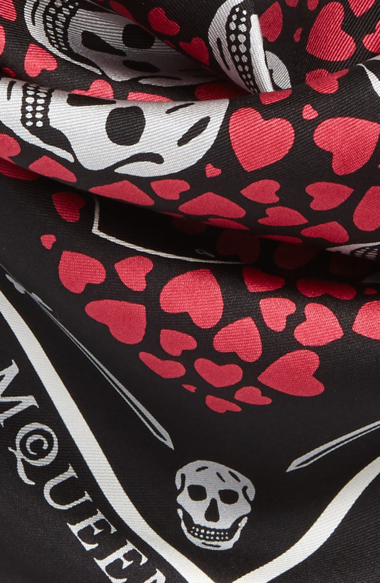 Dagger Hearts Silk Bandana,                             Alternate thumbnail 3, color,                             001