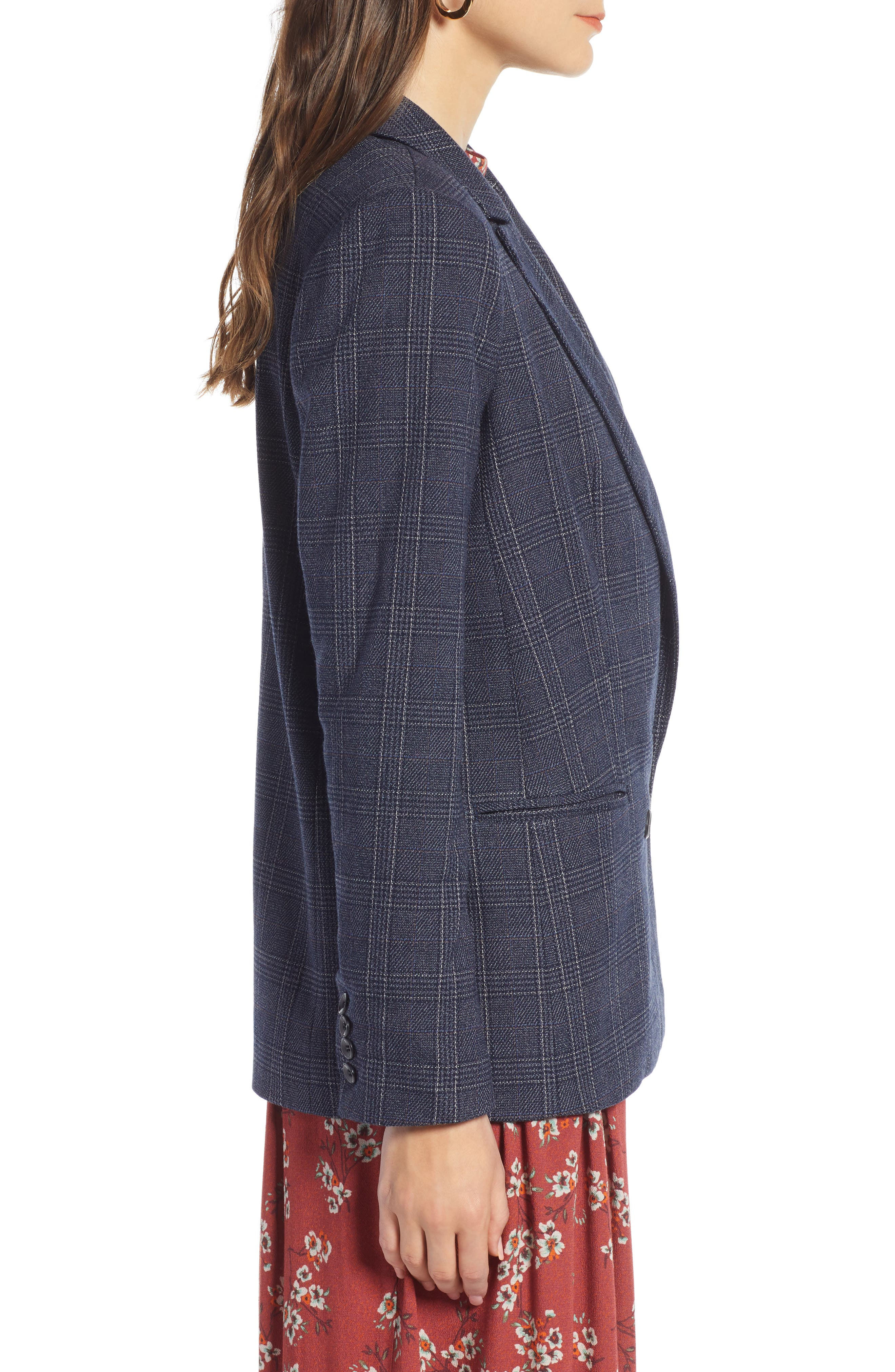 TREASURE & BOND,                             Plaid Double Breasted Blazer,                             Alternate thumbnail 3, color,                             NAVY MULTI PLAID