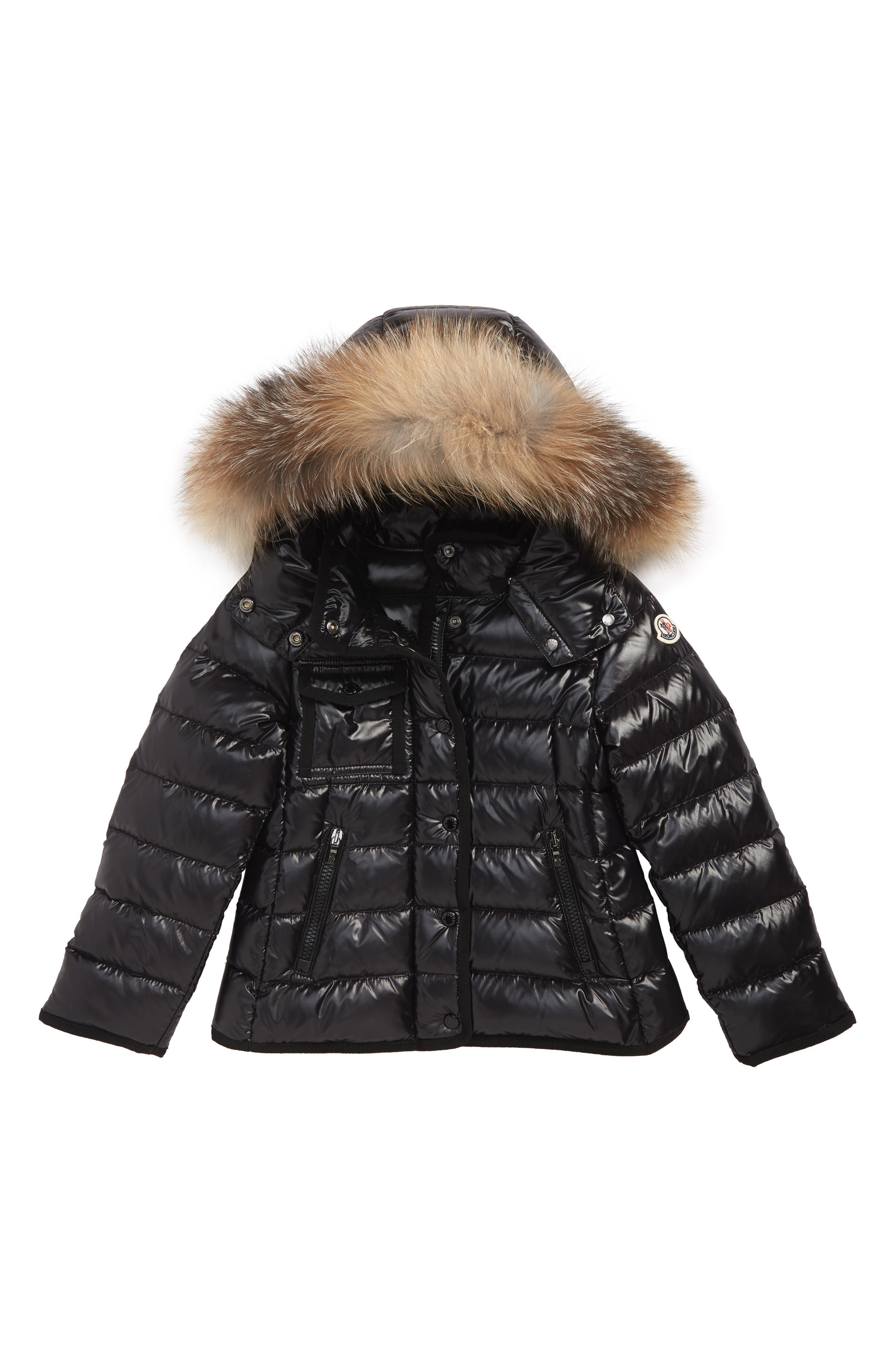 Armoise Hooded Down Jacket with Genuine Fox Fur Trim, Main, color, BLACK