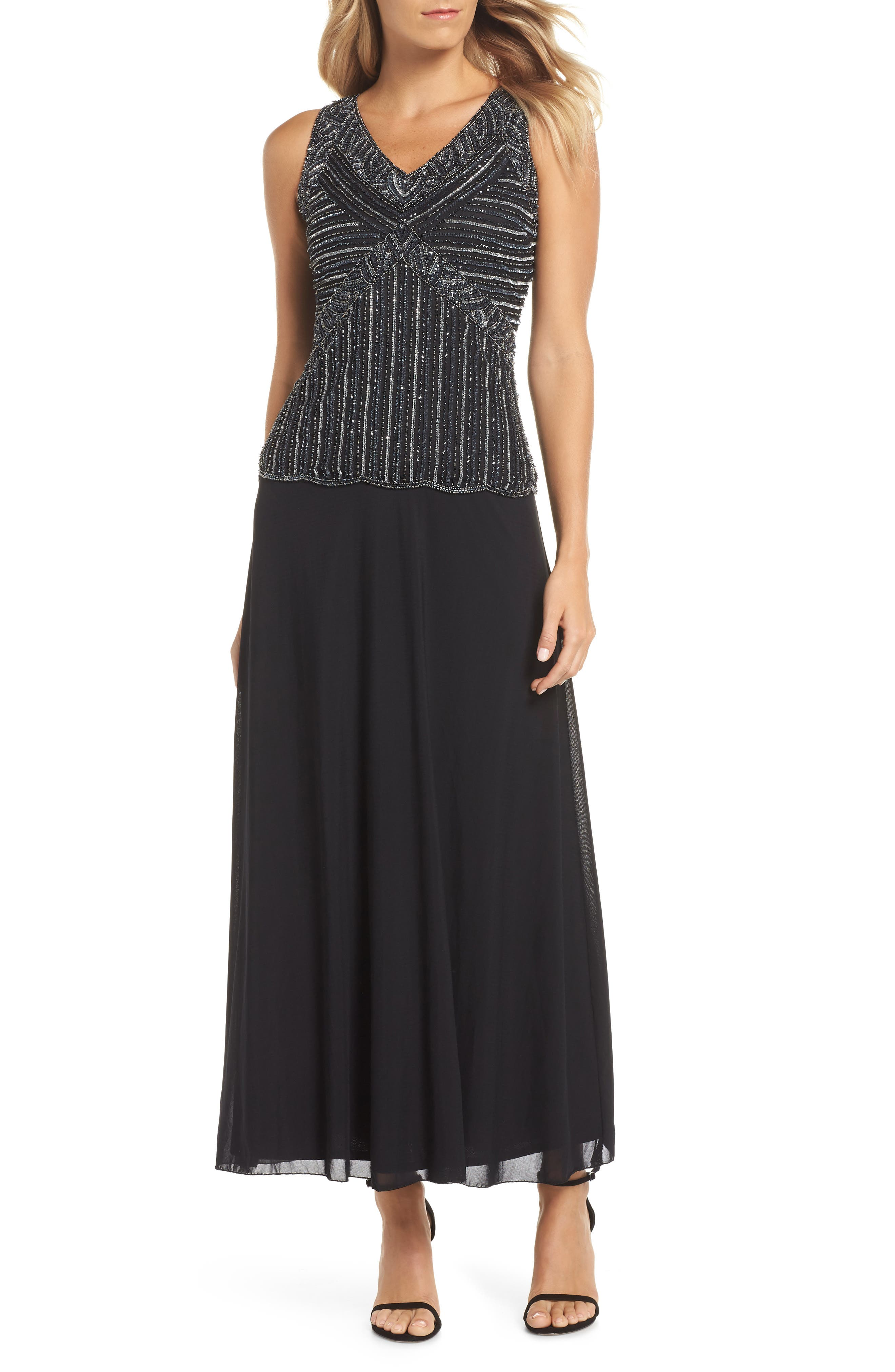 Pisarro Nights Beaded Mock Two-Piece Gown, Black