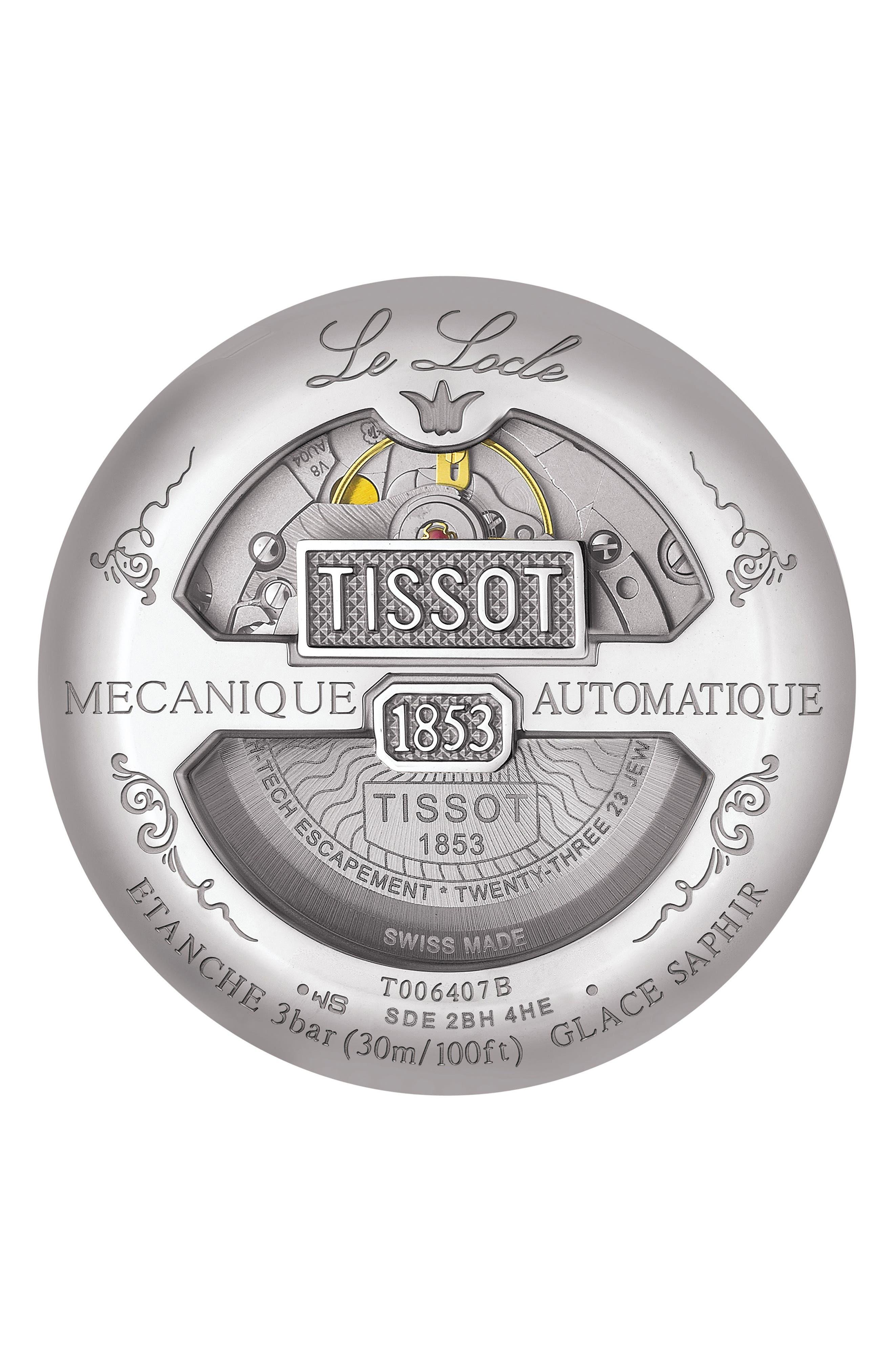 Le Locle Bracelet Watch, 39mm,                             Alternate thumbnail 2, color,                             SILVER/ BLACK/ SILVER
