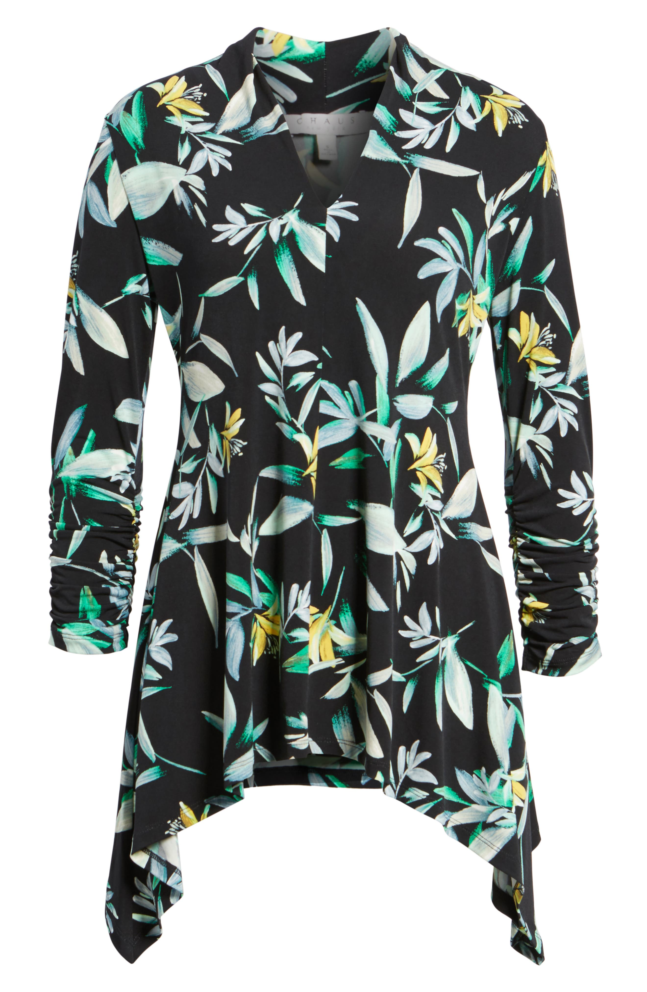 Ruched Sleeve Floral Print Top,                             Alternate thumbnail 6, color,                             010