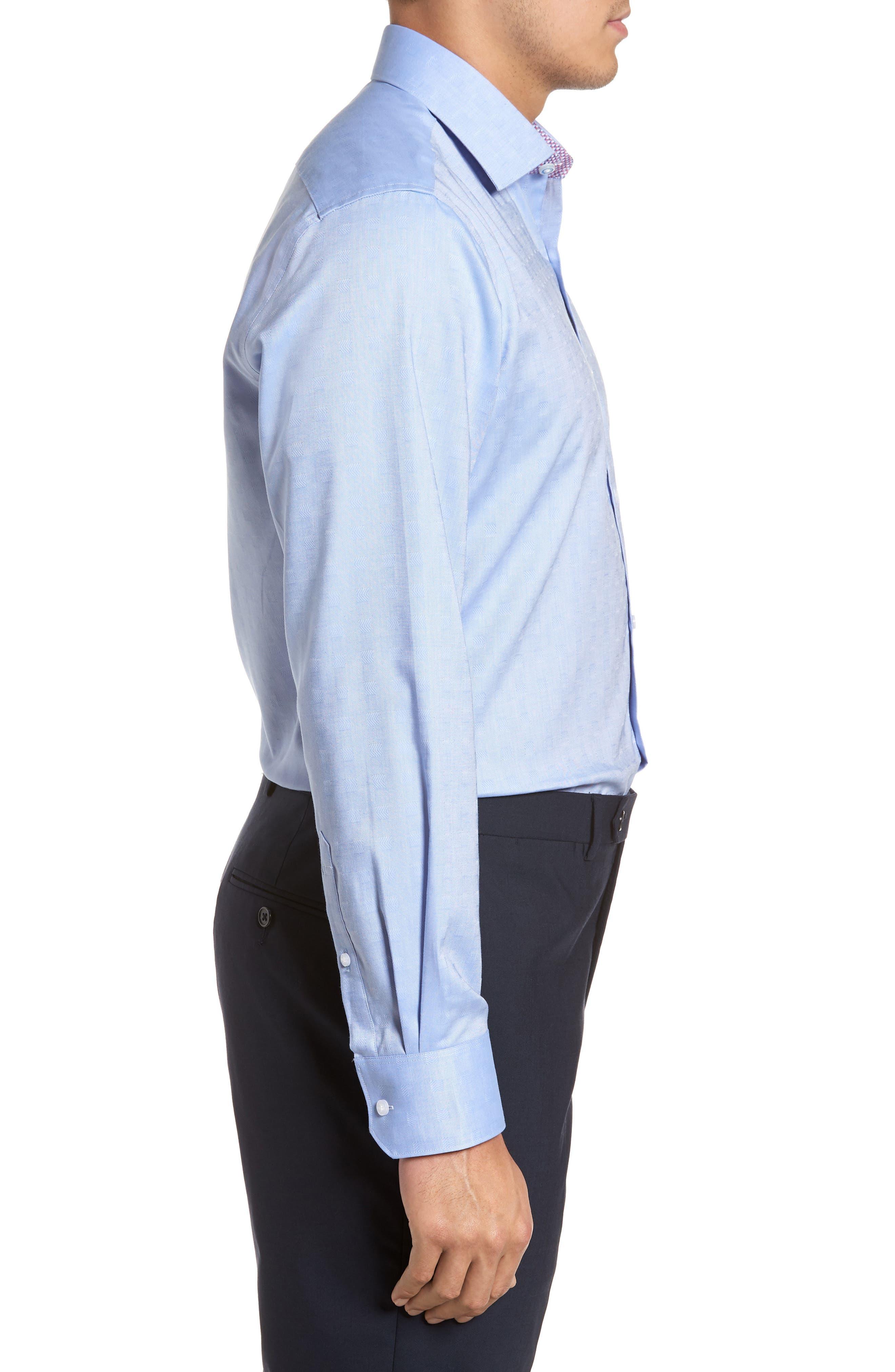 Ashur Trim Fit Solid Dress Shirt,                             Alternate thumbnail 4, color,                             BLUE