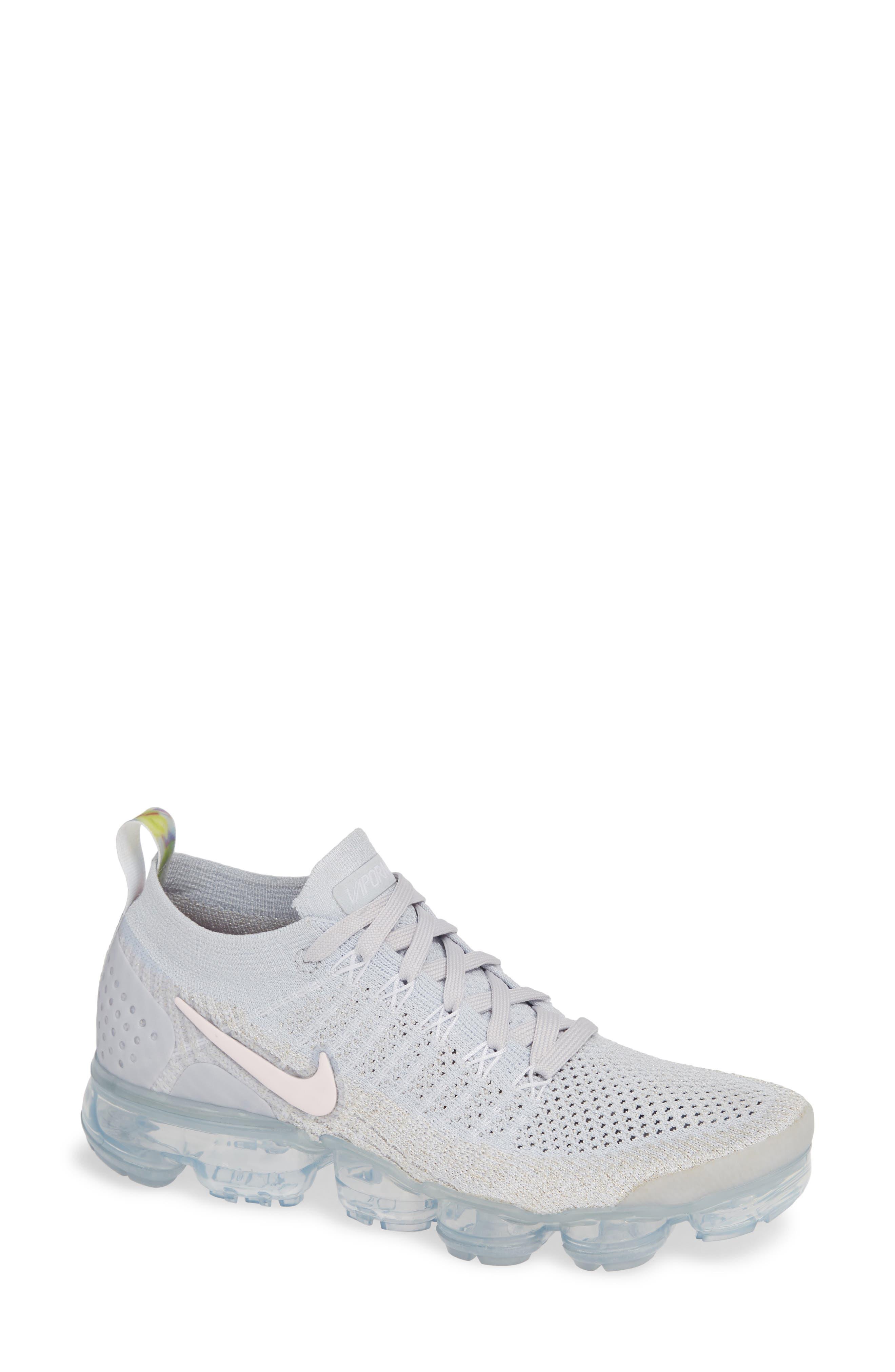Air VaporMax Flyknit 2 Running Shoe,                         Main,                         color, PURE PLATINUM/ PINK-WHITE