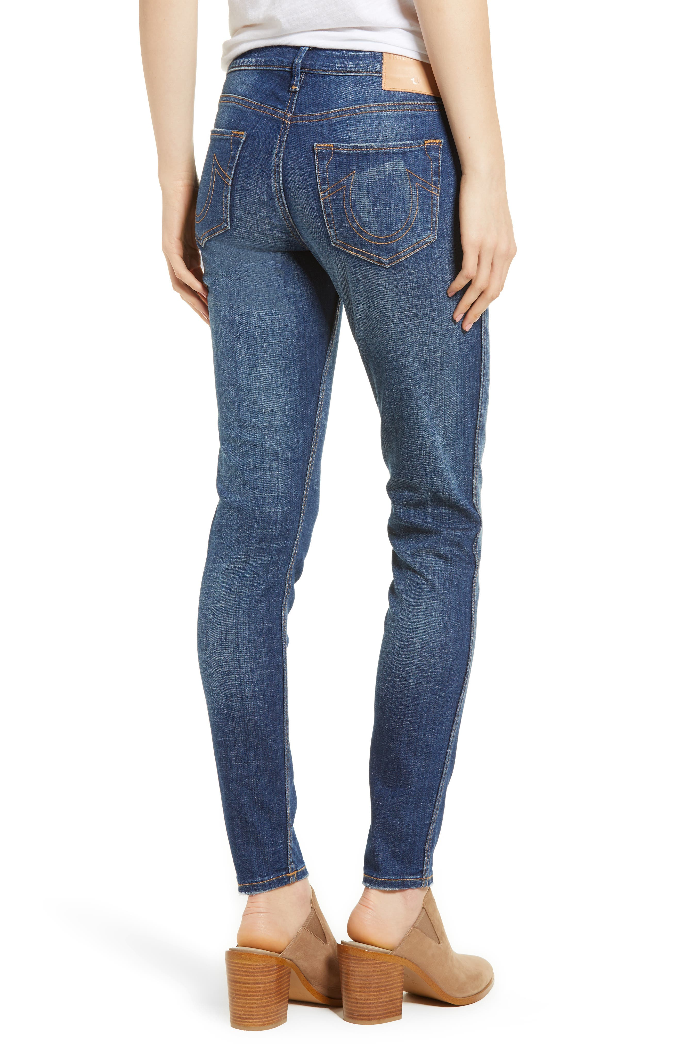 Halle Mid Rise Super Skinny Jeans,                             Alternate thumbnail 2, color,                             401
