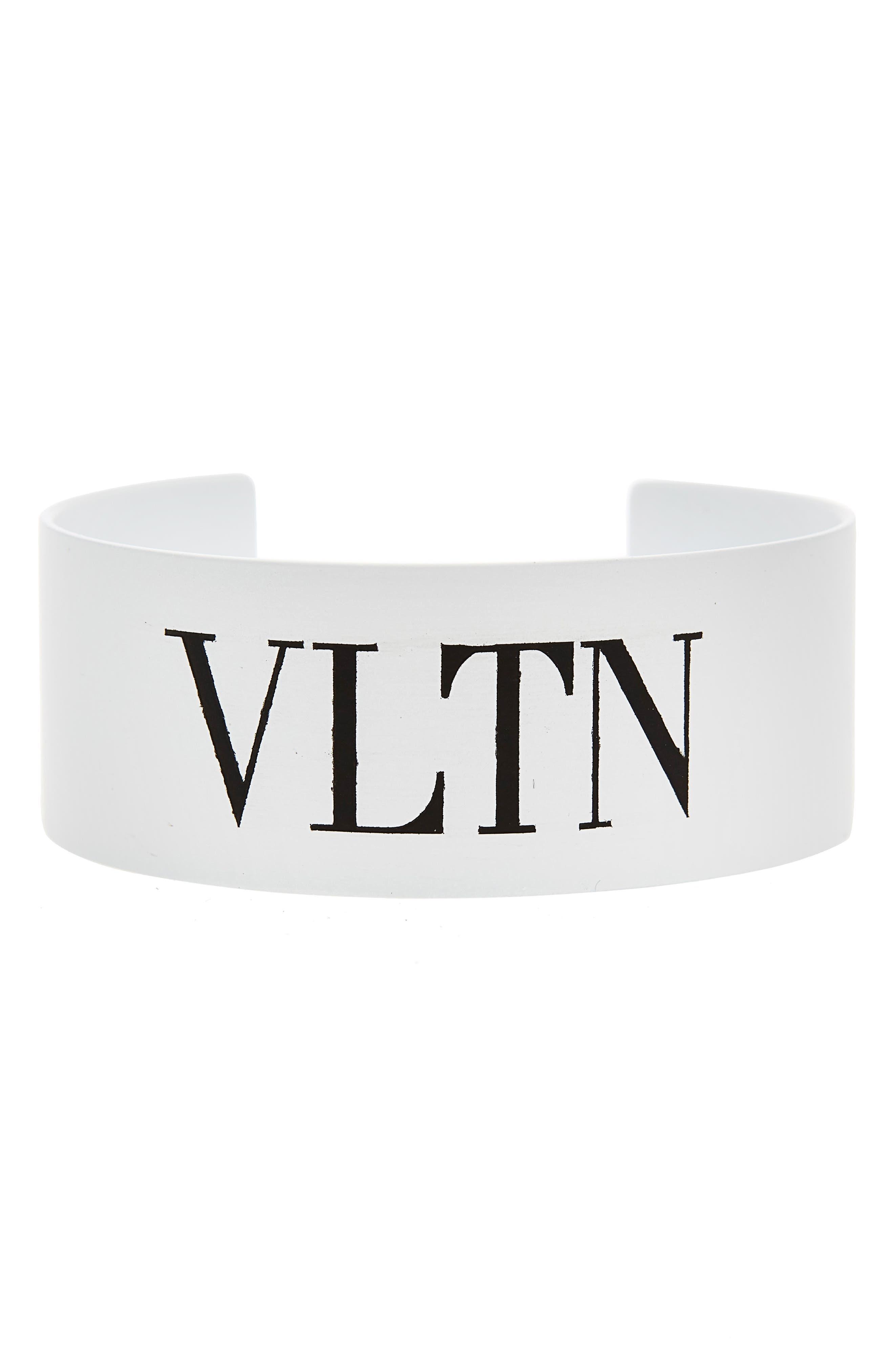 VLTN Medium Cuff Bracelet,                         Main,                         color, BIANCO/ NERO