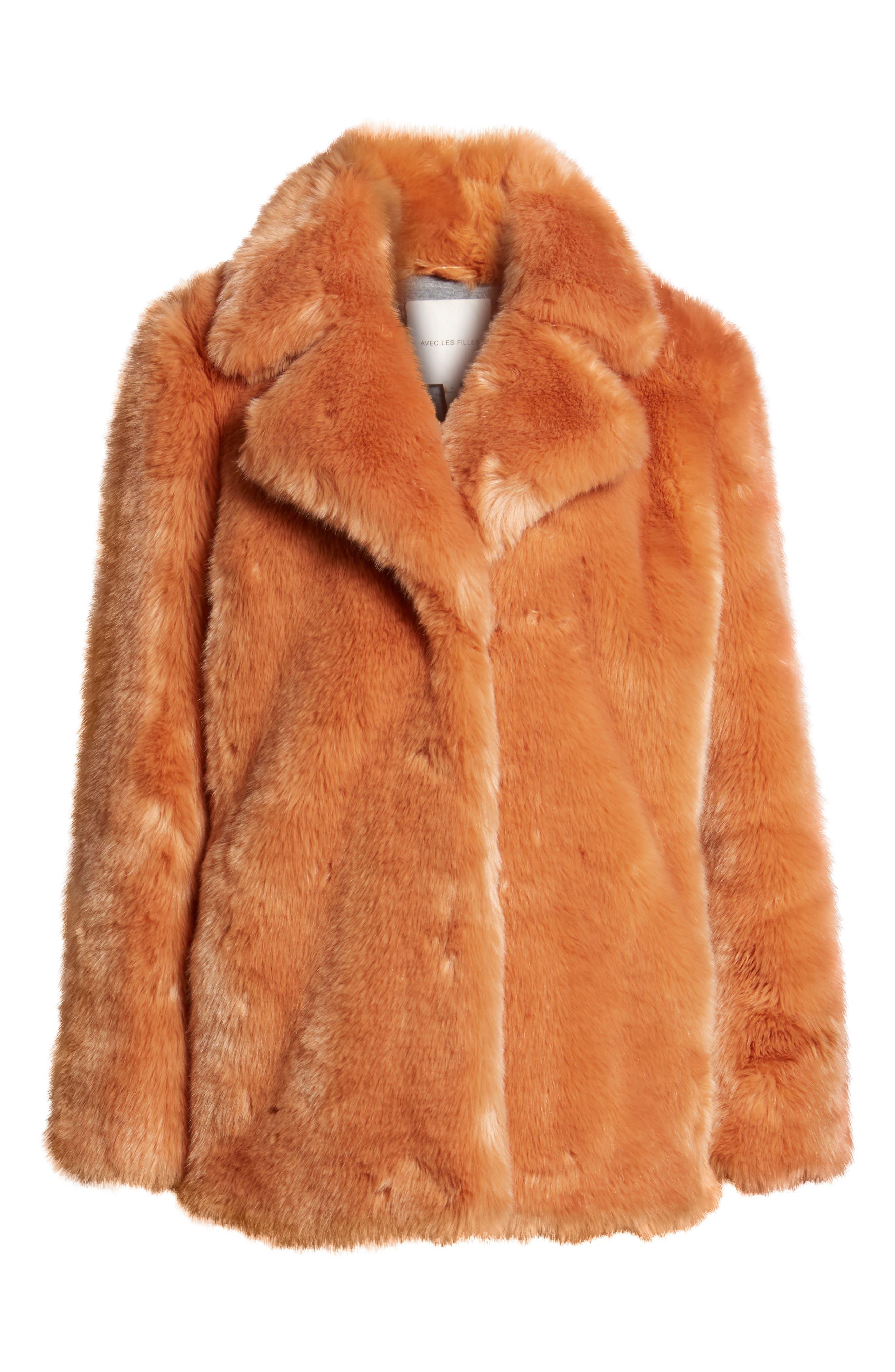 AVEC LES FILLES,                             Notch Collar Faux Fur Coat,                             Alternate thumbnail 6, color,                             669