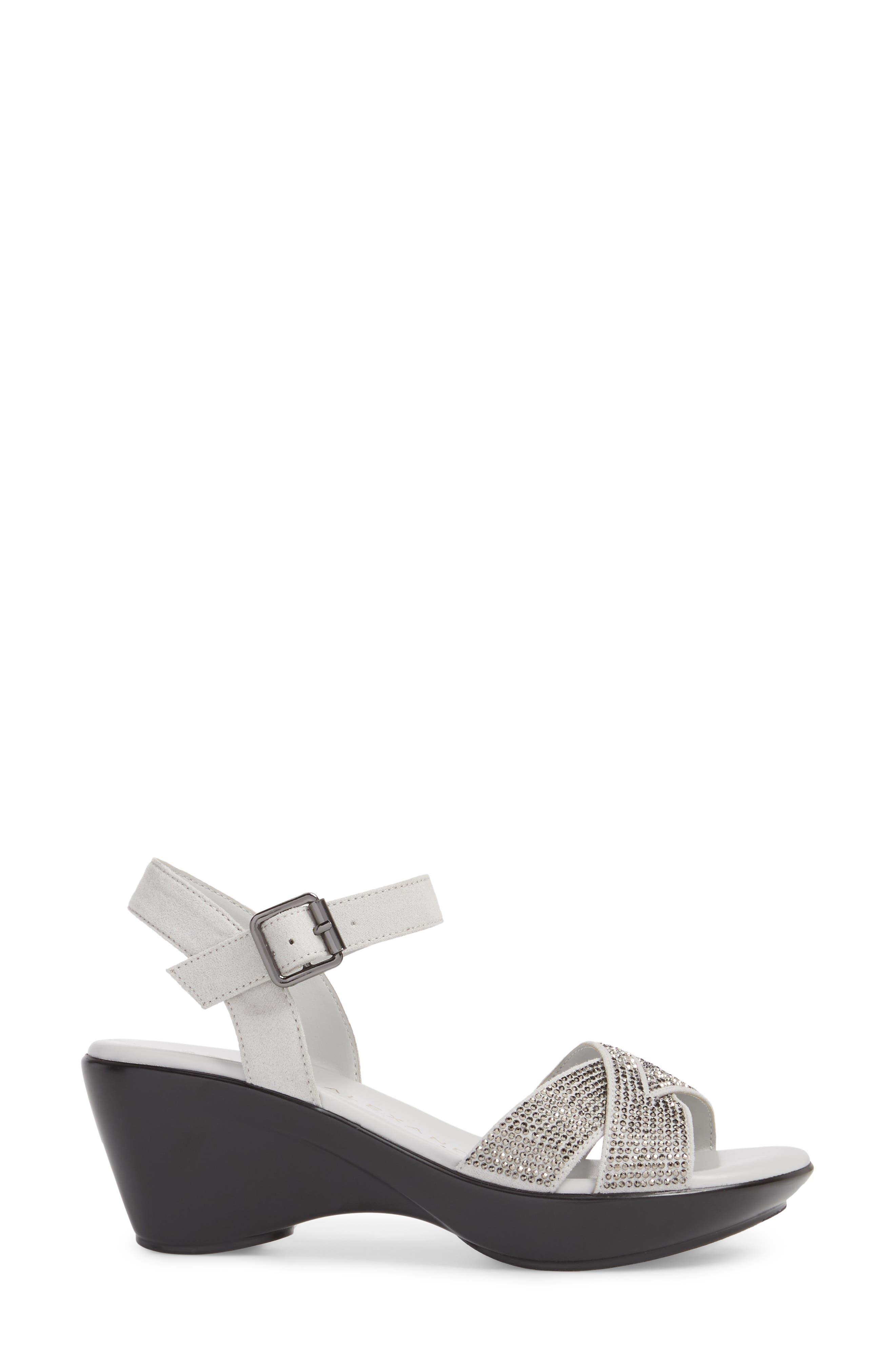 Florence Wedge Sandal,                             Alternate thumbnail 3, color,                             GREY FAUX SUEDE