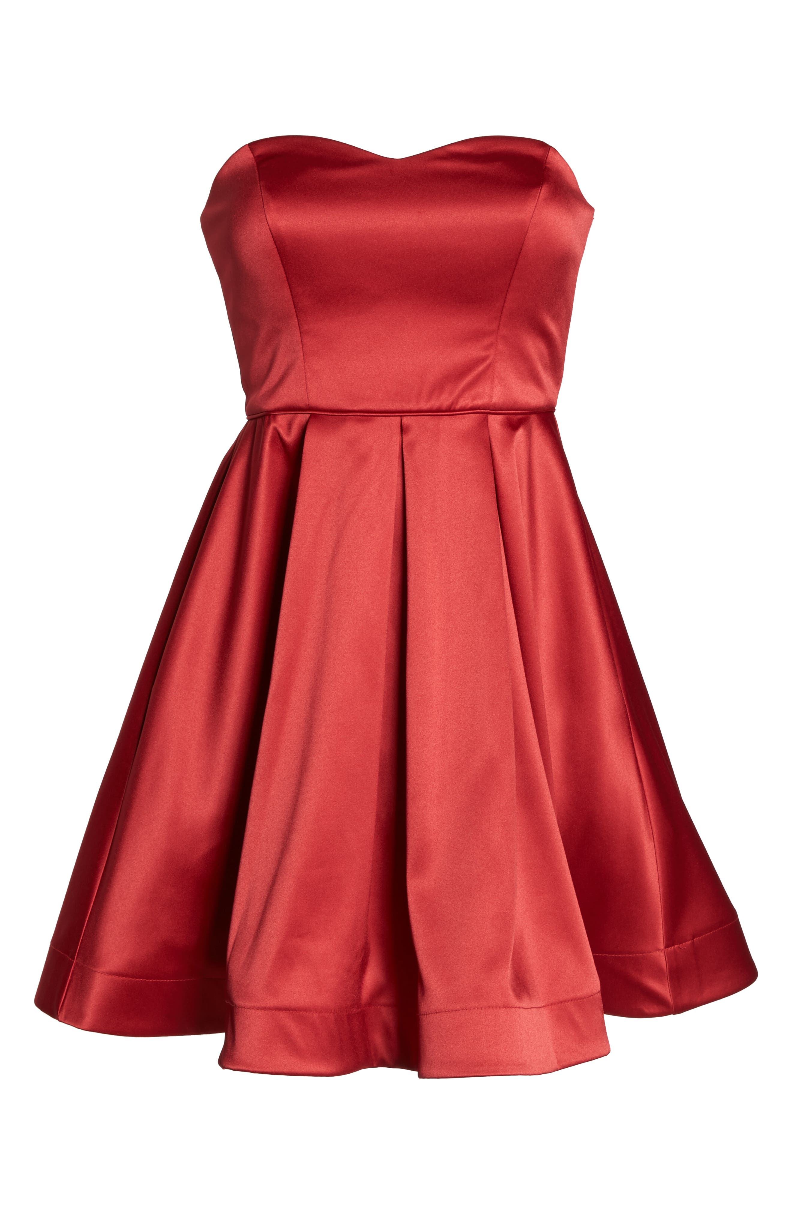 Satin Removable Strap Party Dress,                             Alternate thumbnail 8, color,                             RED