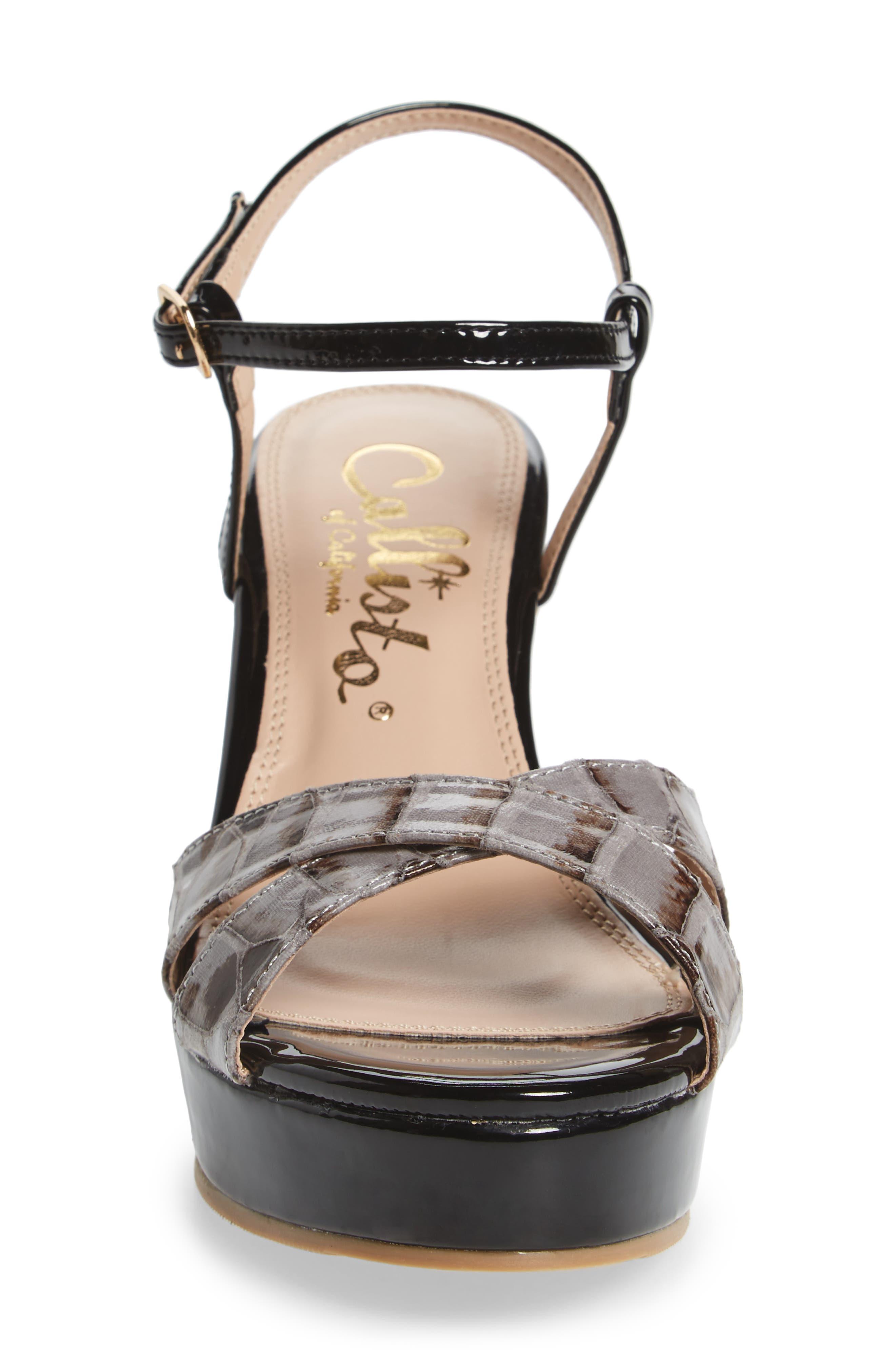 Lottie Platform Wedge Sandal,                             Alternate thumbnail 4, color,                             BLACK SYNTHETIC