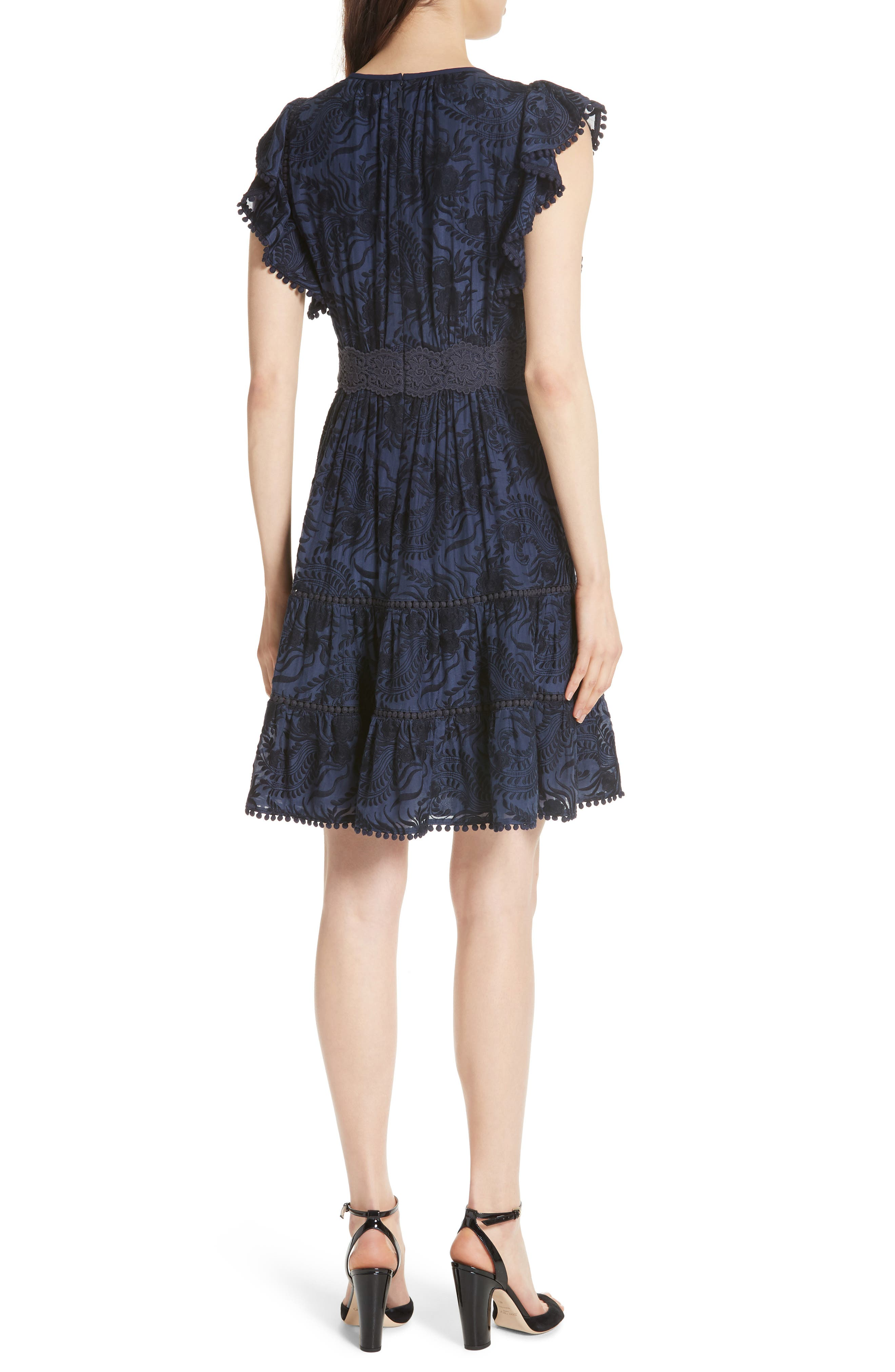 jenette cotton silk fit & flare dress,                             Alternate thumbnail 2, color,