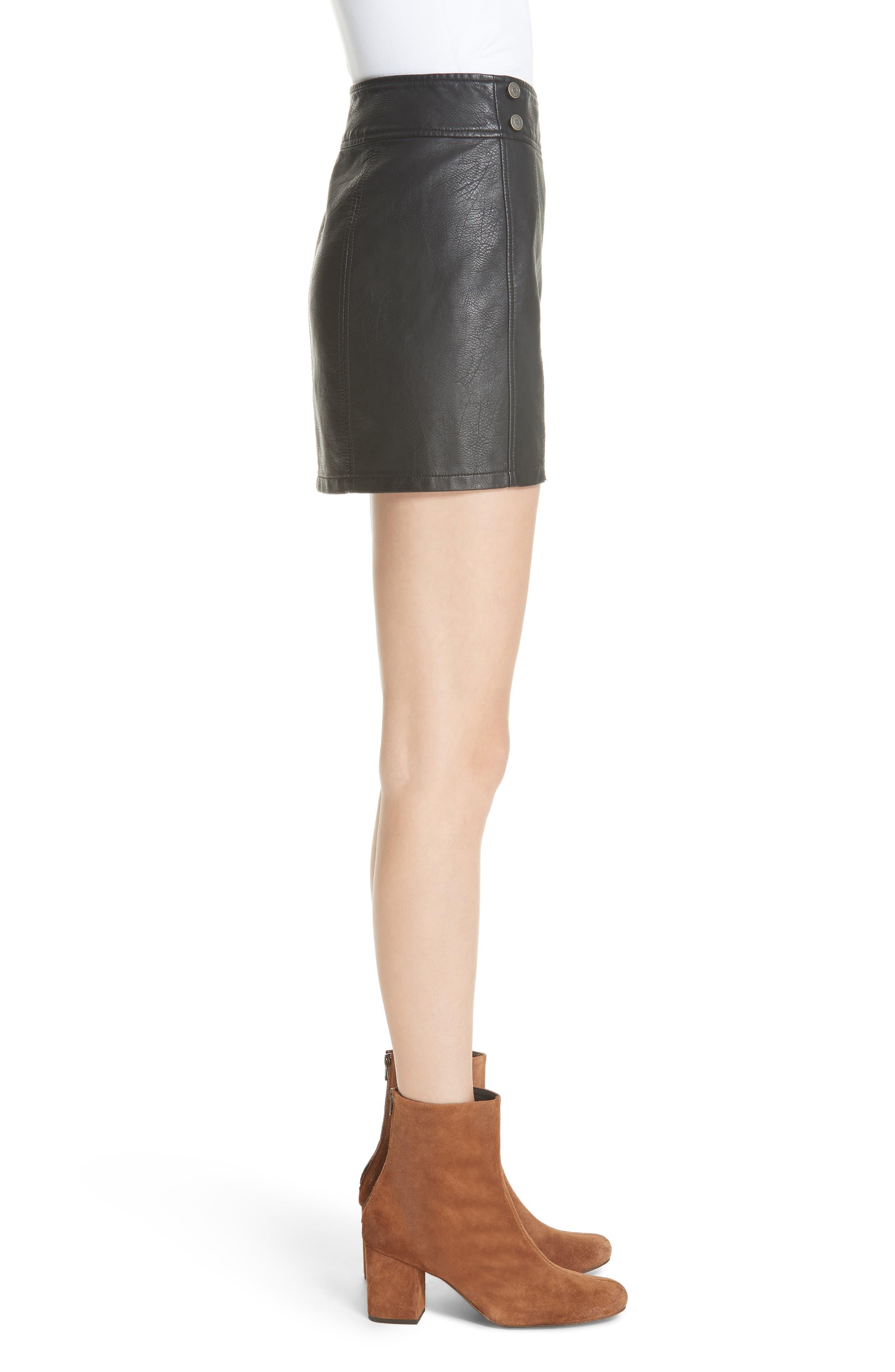 Retro Faux Leather Body-Con Miniskirt,                             Alternate thumbnail 3, color,                             001