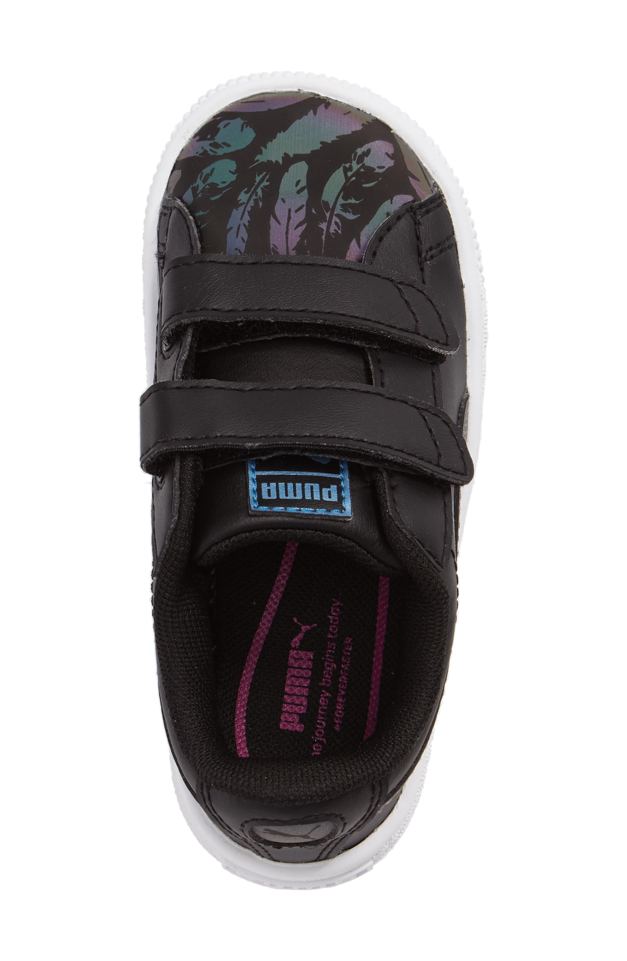 Basket Swan Feather Print Sneaker,                             Alternate thumbnail 3, color,                             001