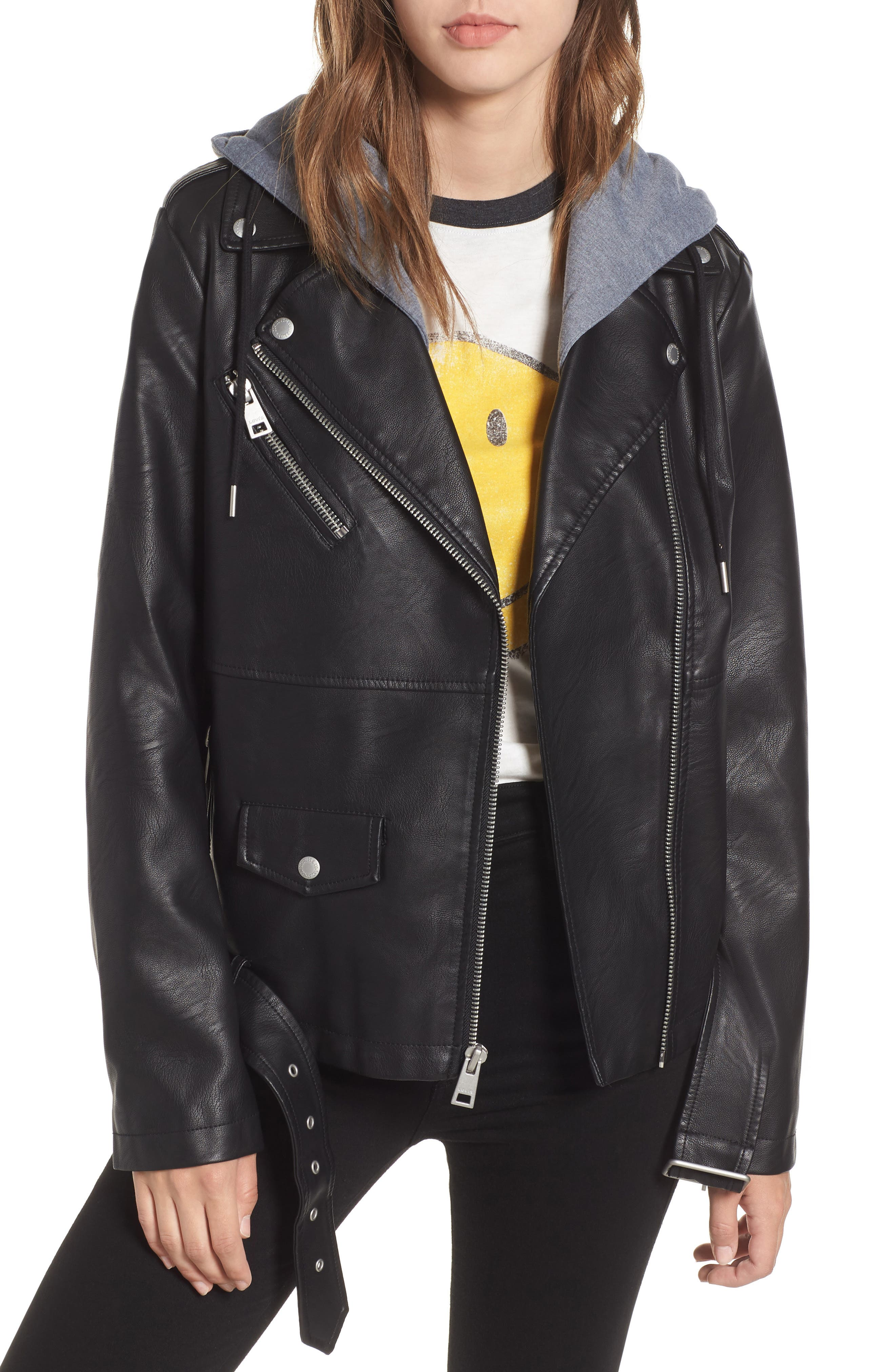 Fleece Hood Oversized Faux Leather Moto Jacket,                             Main thumbnail 1, color,                             BLACK