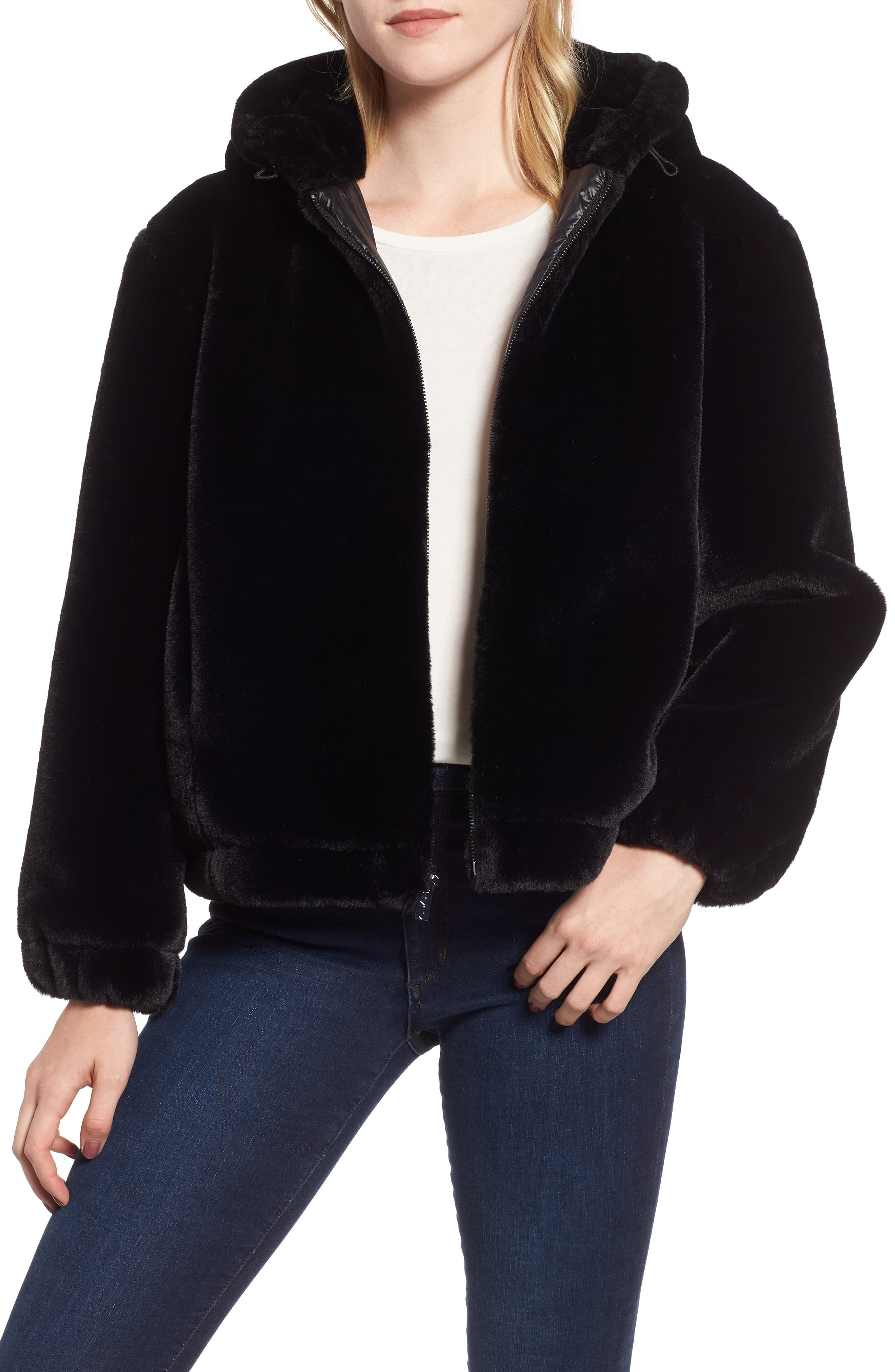 Faux Fur Bomber Jacket,                             Main thumbnail 1, color,                             001