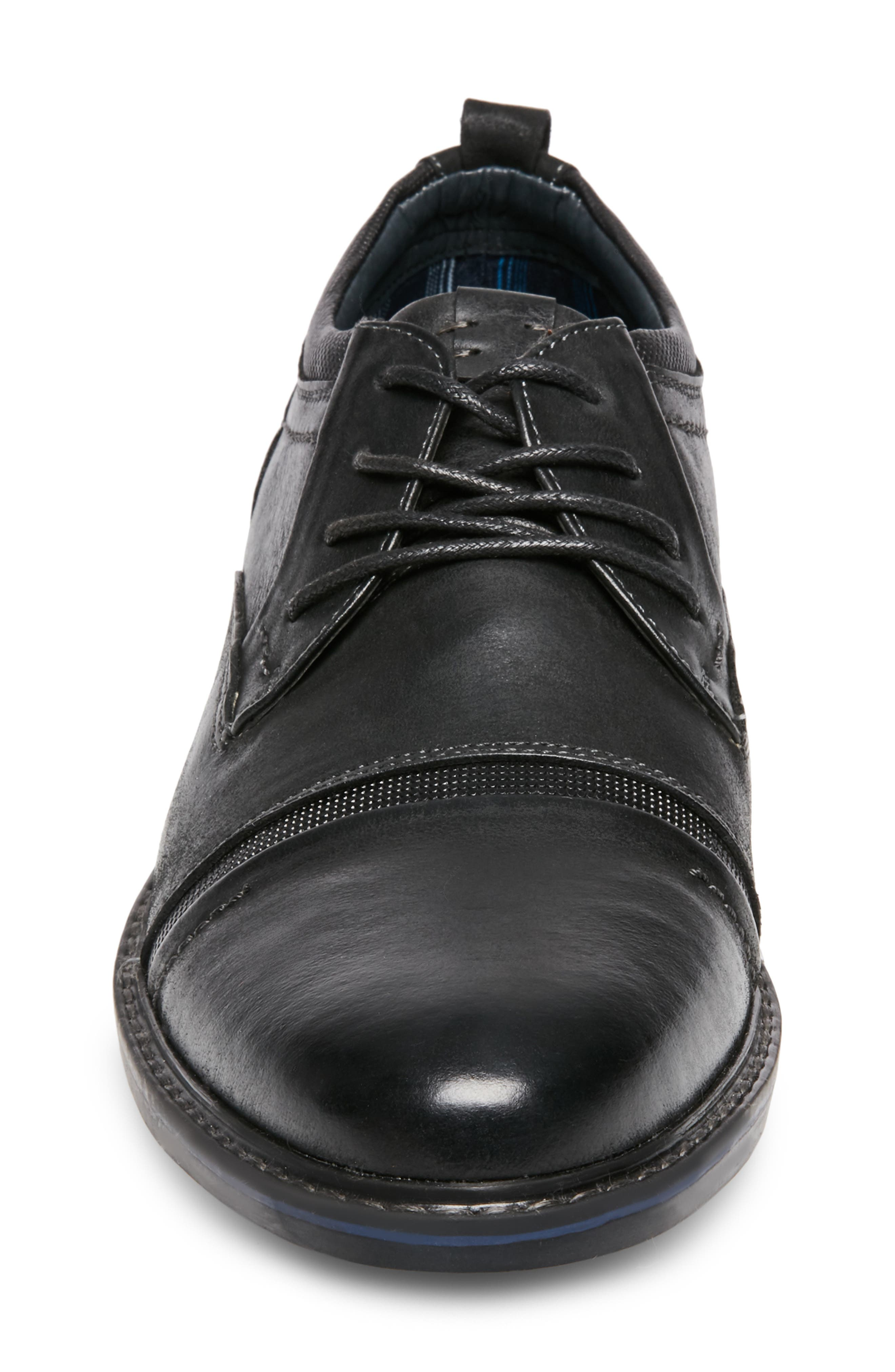 O'Leary Cap Toe Derby,                             Alternate thumbnail 4, color,                             BLACK LEATHER